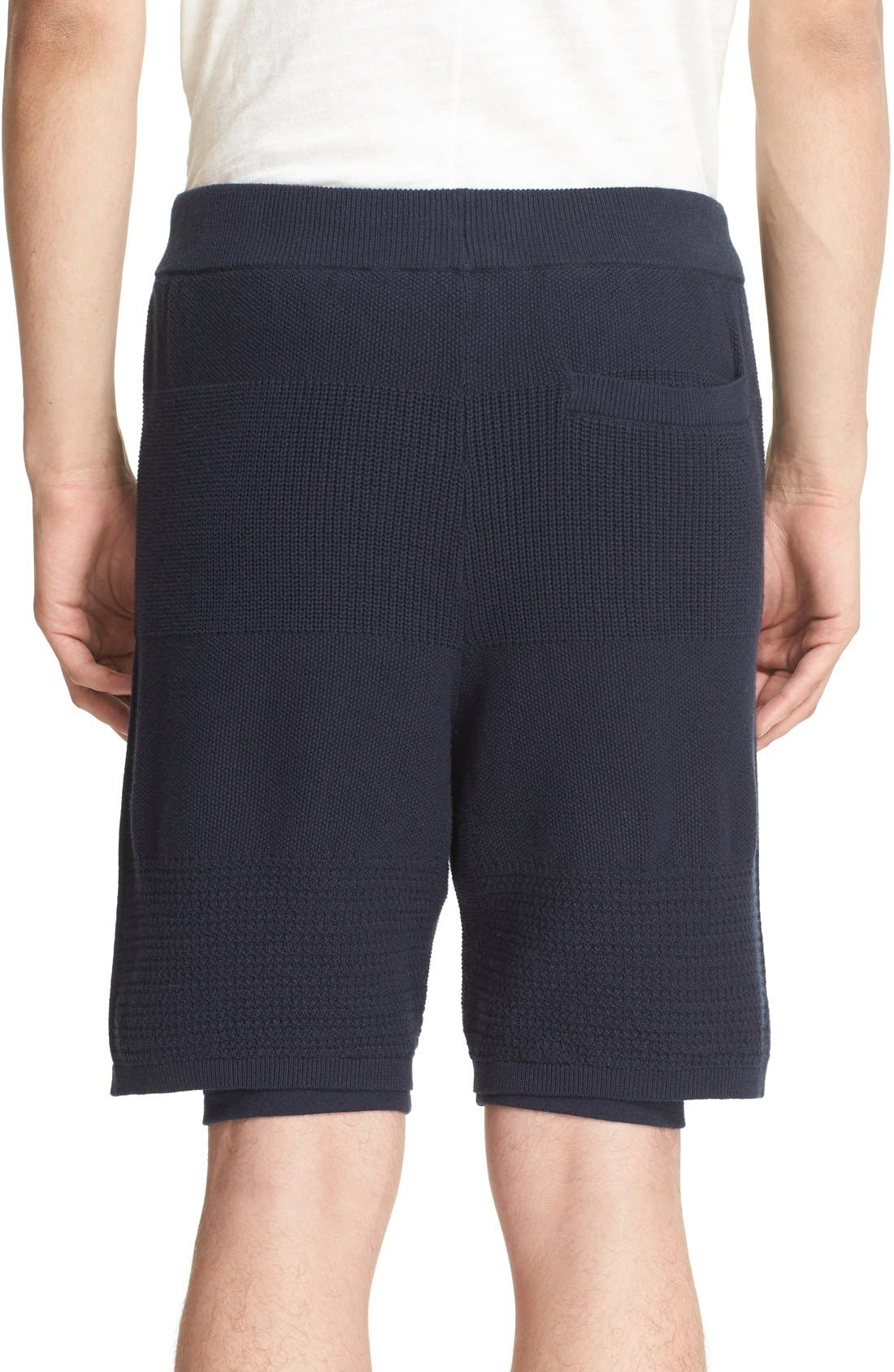 Linear Texture Knit Shorts,                             Alternate thumbnail 2, color,                             Night Navy