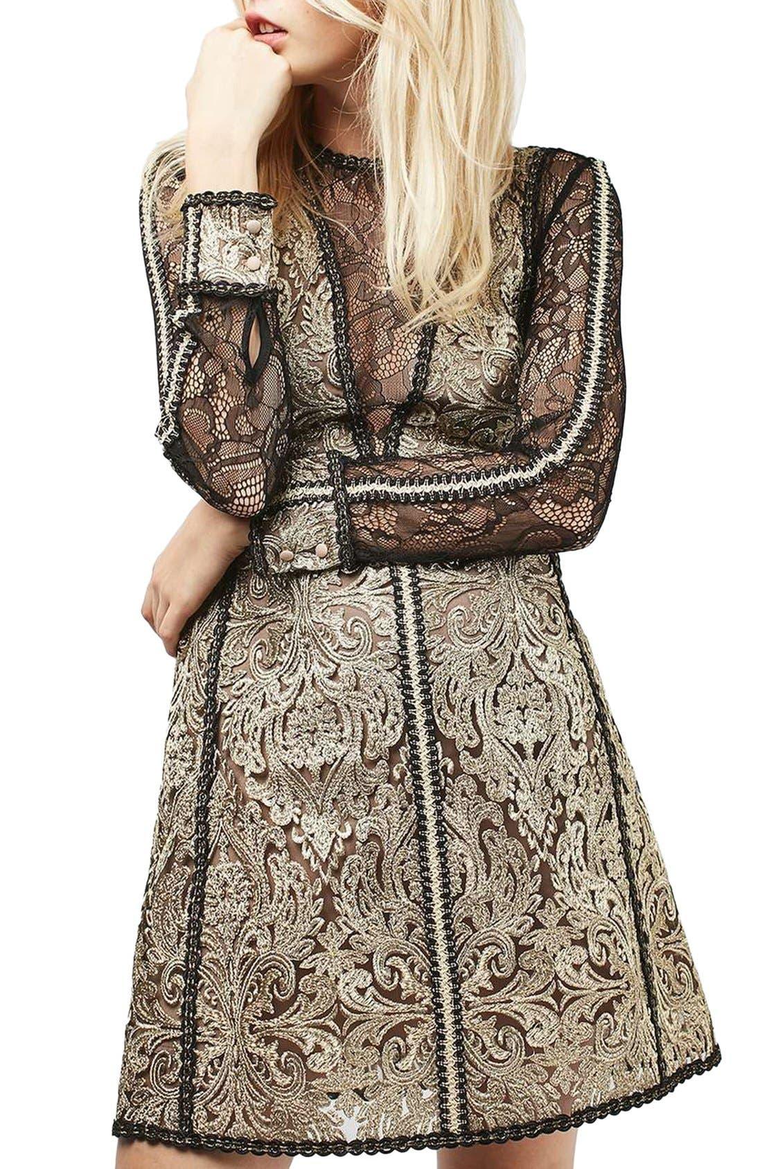 Main Image - Topshop Lace A-Line Dress