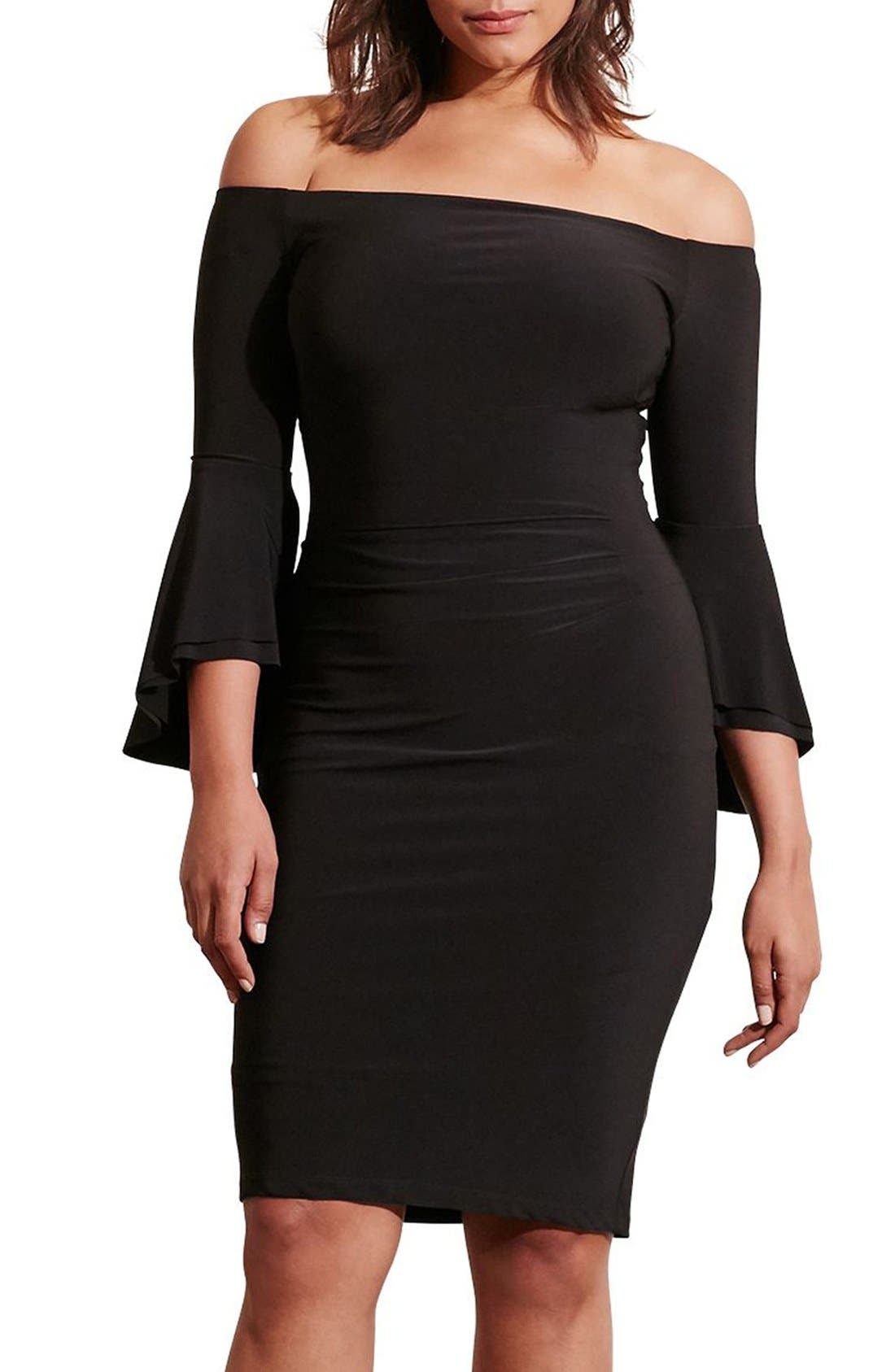 Off the Shoulder Jersey Sheath Dress,                             Main thumbnail 1, color,                             Black