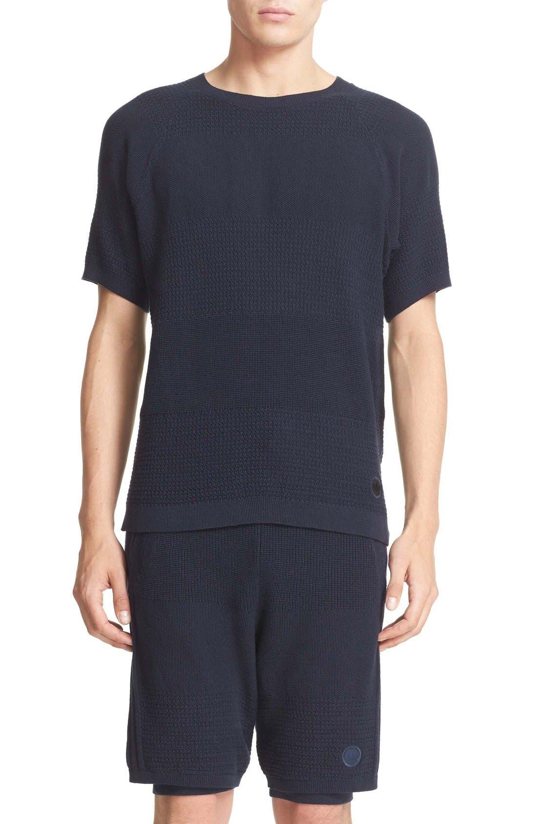Linear Cotton & Linen T-Shirt,                         Main,                         color, Night Navy