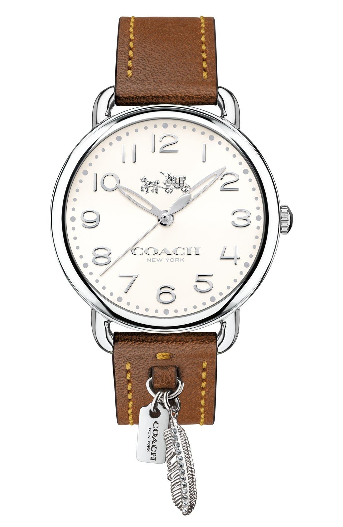 Delancey Leather Strap Watch, 36mm,                         Main,                         color, Brown/ White