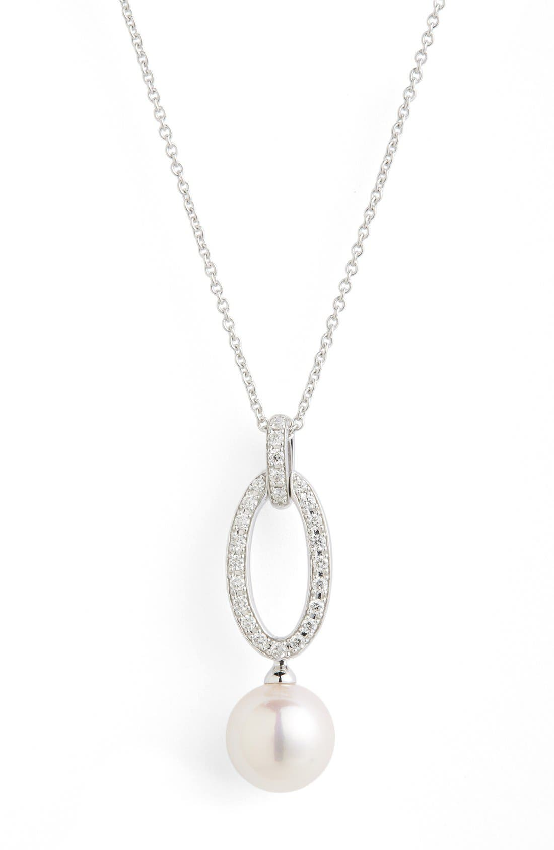 Diamond & Akoya Cultured Pearl Pendant Necklace,                             Alternate thumbnail 2, color,                             White Gold