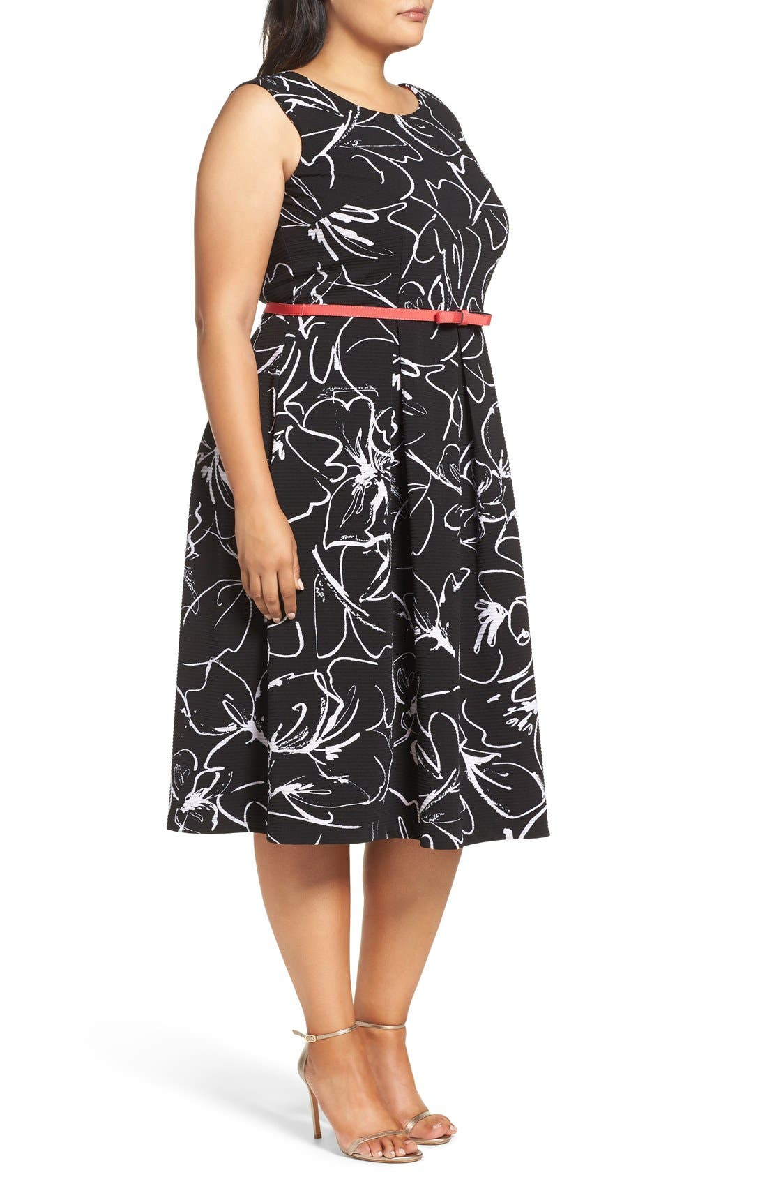 Alternate Image 3  - Gabby Skye Print Fit & Flare Dress (Plus Size)