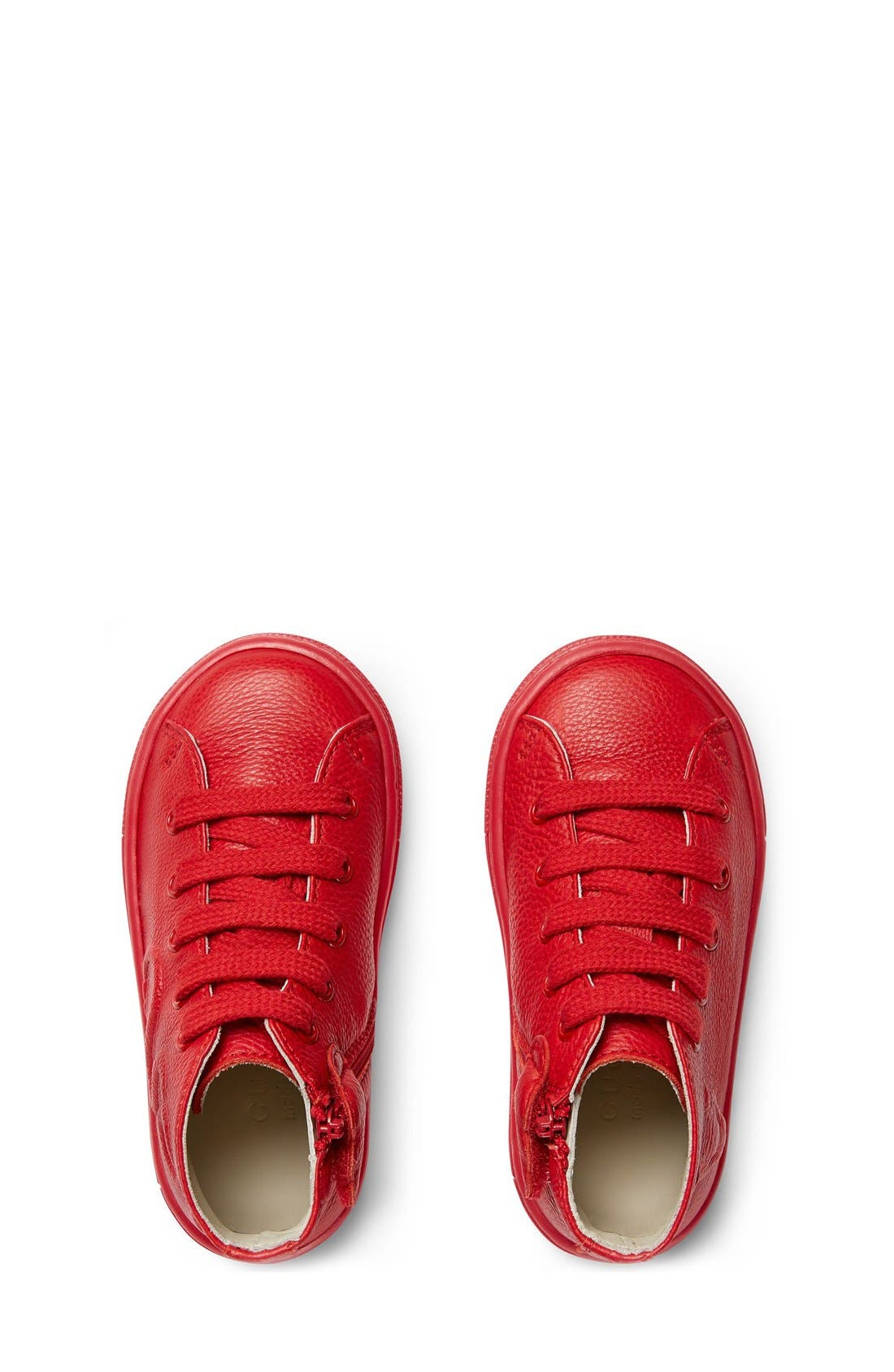Major High Top Sneaker,                             Alternate thumbnail 3, color,                             Red Leather