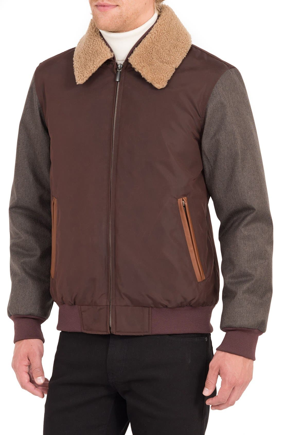 Waxed Nylon Jacket with Faux Shearling Collar,                             Alternate thumbnail 3, color,                             Burgundy/ Acorn