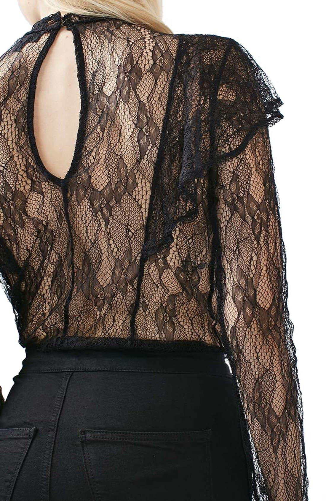 Alternate Image 3  - Topshop Ruffle Stud Lace Top