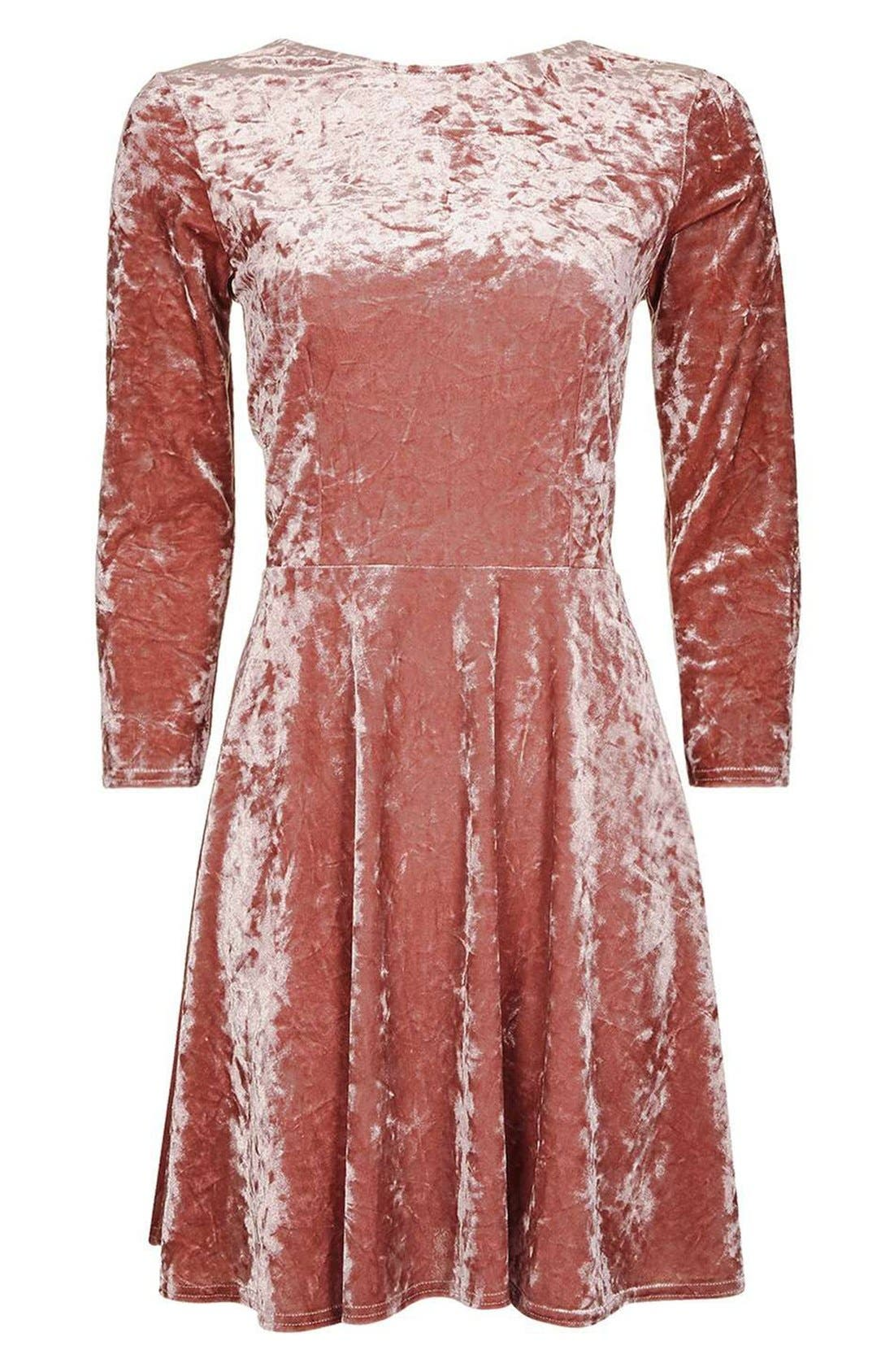 Crushed Velvet Dress,                             Alternate thumbnail 4, color,                             Pink