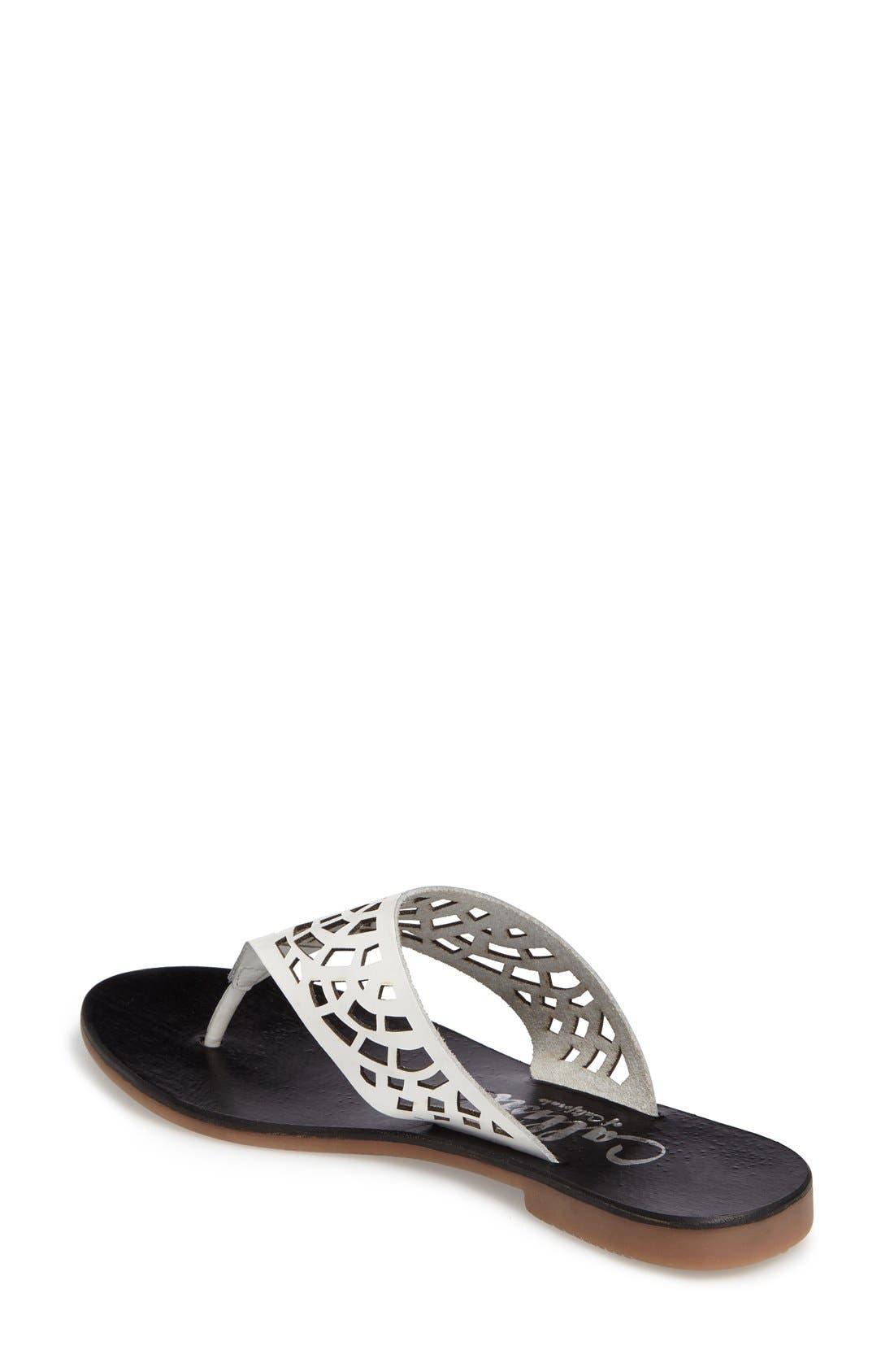 Daria Flip Flop,                             Alternate thumbnail 2, color,                             White Faux Leather