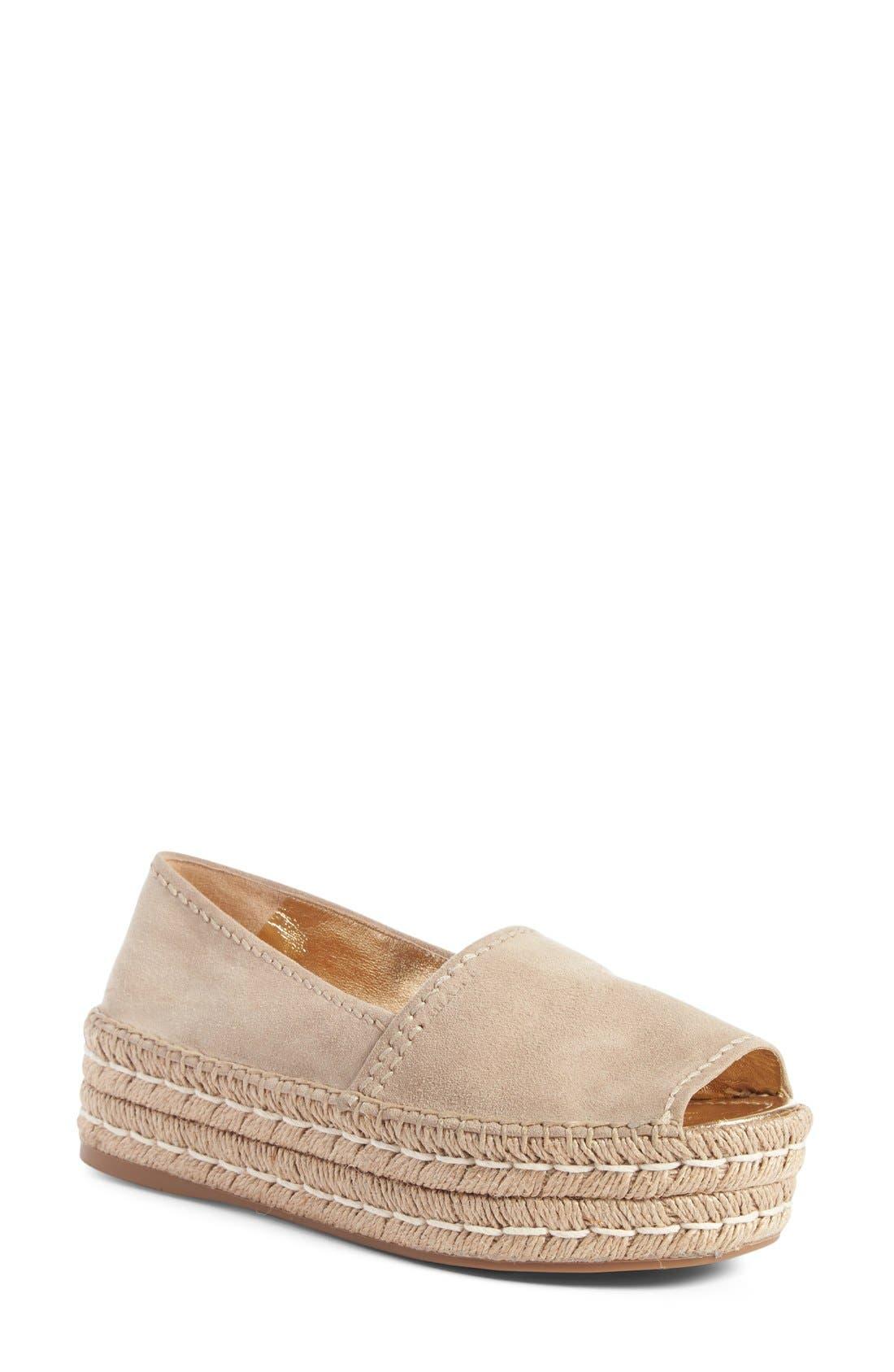 Prada Peep Toe Leather Espadrille (Women)