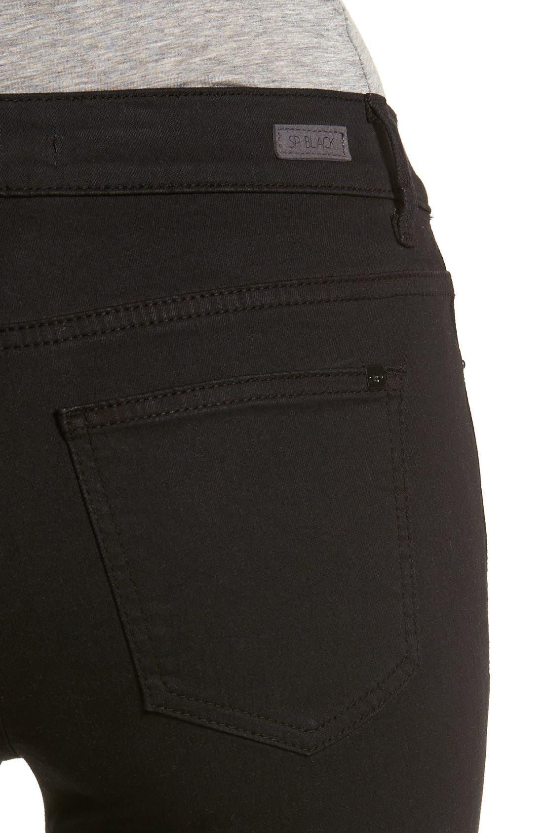 Alternate Image 4  - SP Black Slit Knee Skinny Jeans