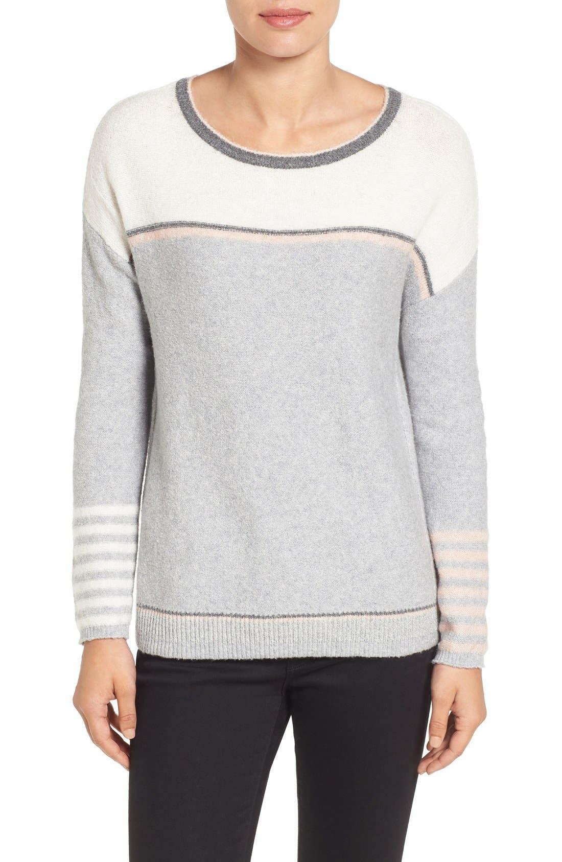 Button Back Sweater,                         Main,                         color, Heather Grey Stripe