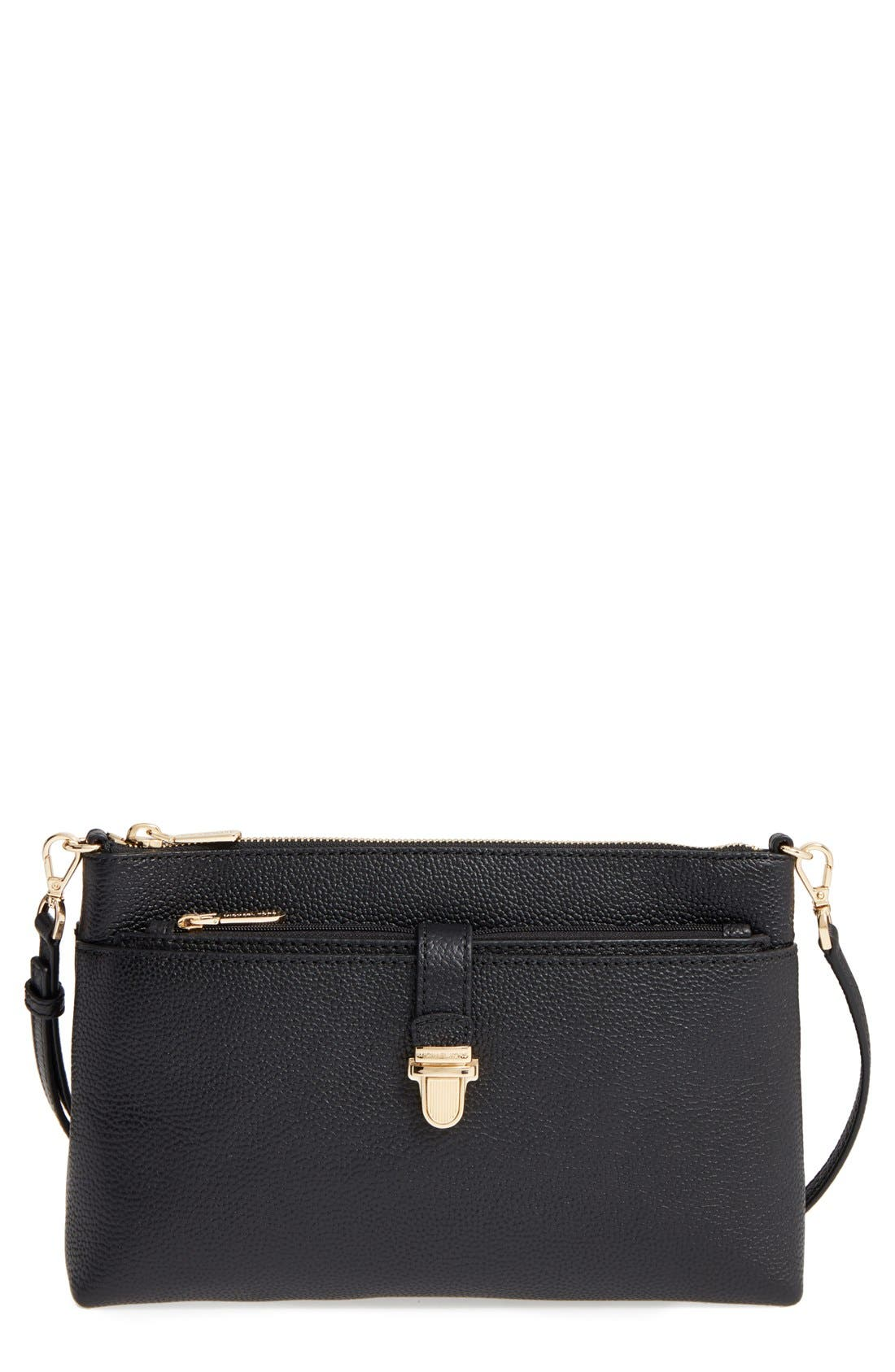 Large Mercer Leather Crossbody Bag,                         Main,                         color, Black/ Gold