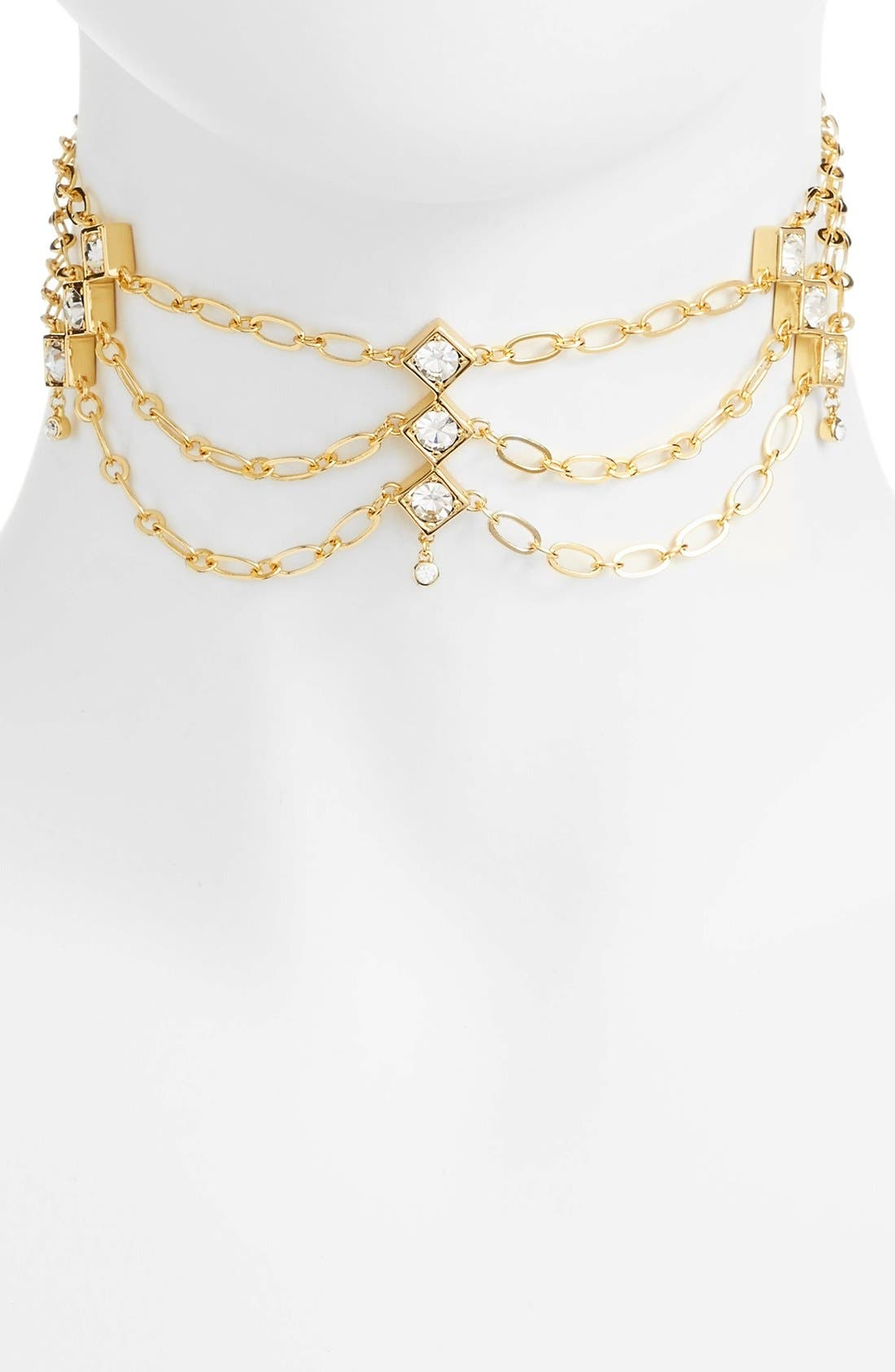 Tulum Layered Choker,                         Main,                         color, Gold/ Clear