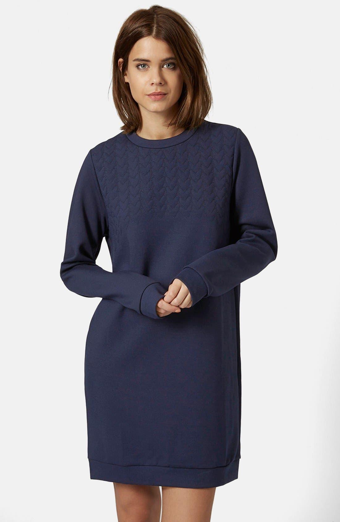 Main Image - Topshop Quilted Sweatshirt Dress
