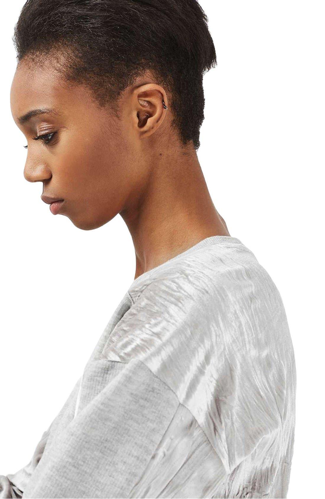 Alternate Image 6  - Topshop Crinkle Velvet Back Pullover