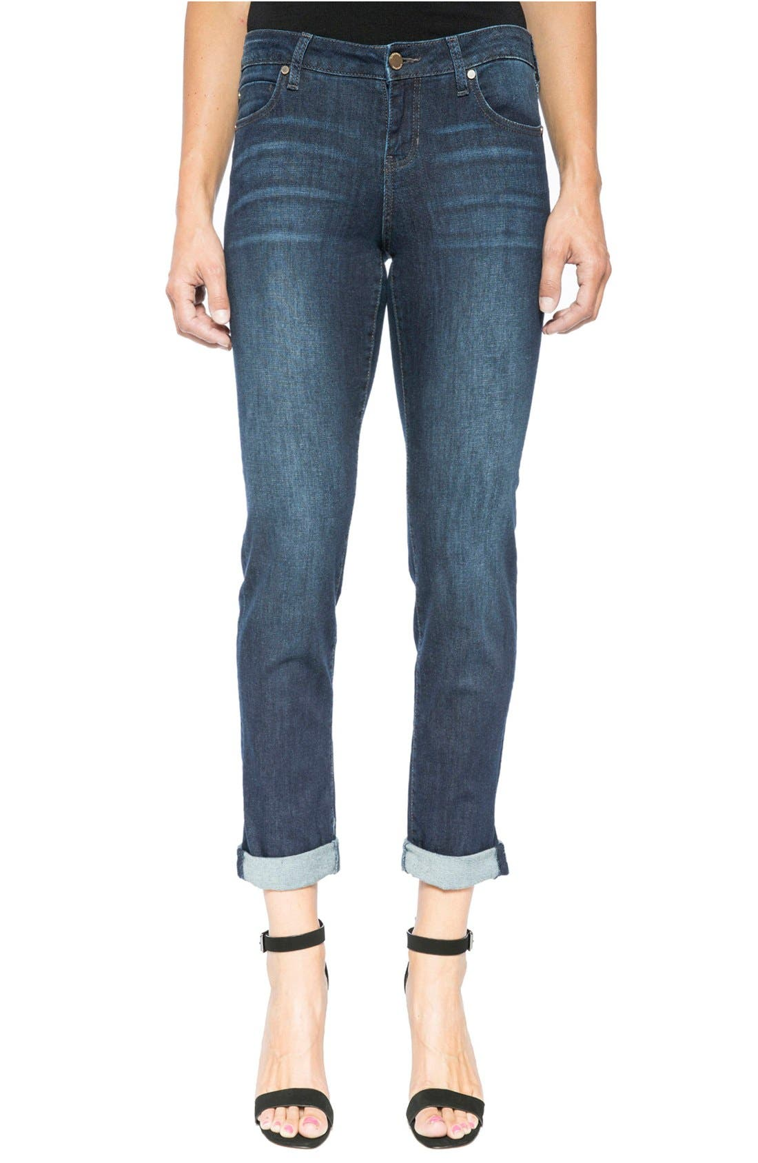 Liverpool Jeans Company Peyton Slim Stretch Crop Boyfriend Jeans (Vintage Super Dark) (Regular & Petite)
