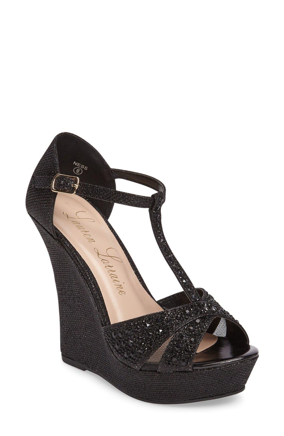 Lauren Lorraine Ness Crystal Embellished Wedge Sandal (Women)