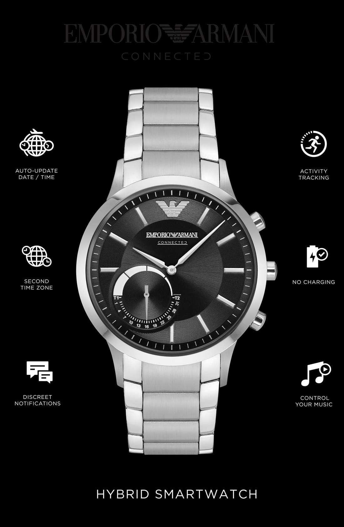 Bracelet Hybrid Smart Watch, 43mm,                             Alternate thumbnail 4, color,                             Silver/ Black