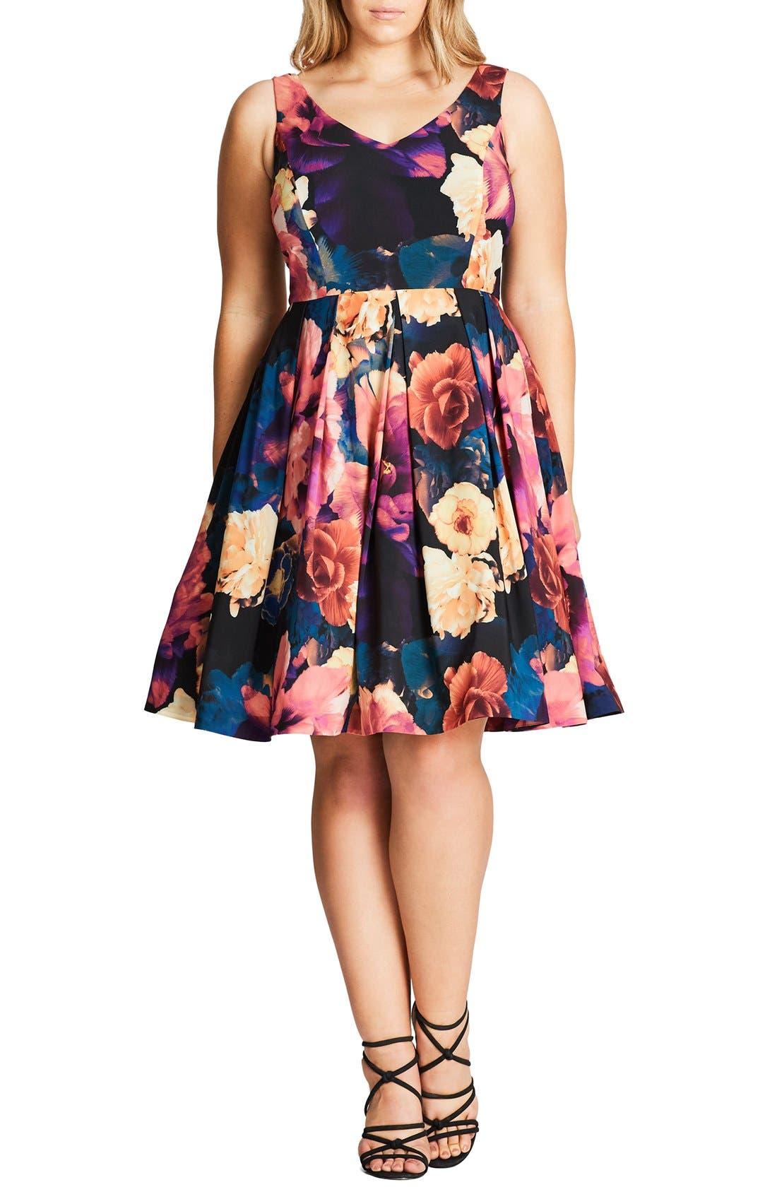 Main Image - City Chic Secret Garden Print Fit & Flare Dress (Plus Size)