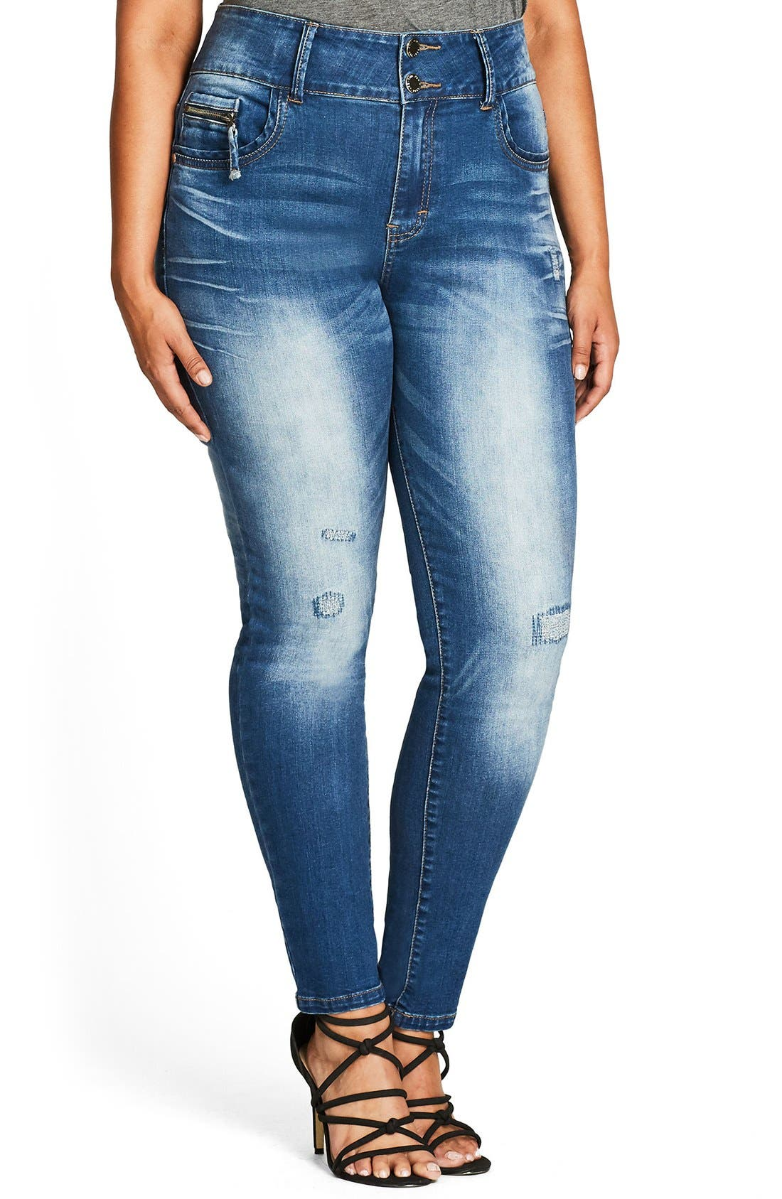 Ocean Apple Stretch Skinny Jeans,                             Alternate thumbnail 3, color,                             Mid Denim
