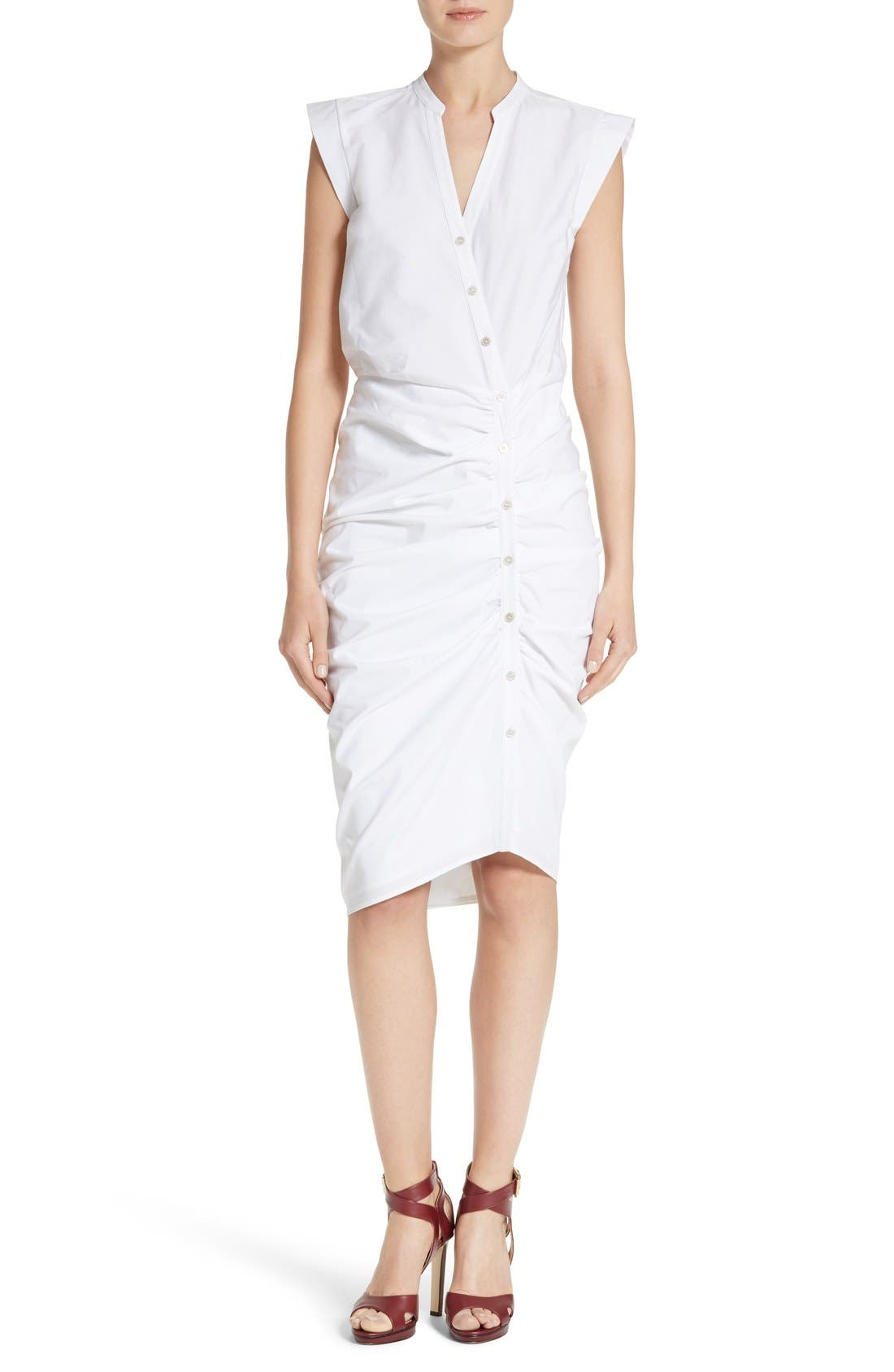 Ruched Shirtdress,                         Main,                         color, White