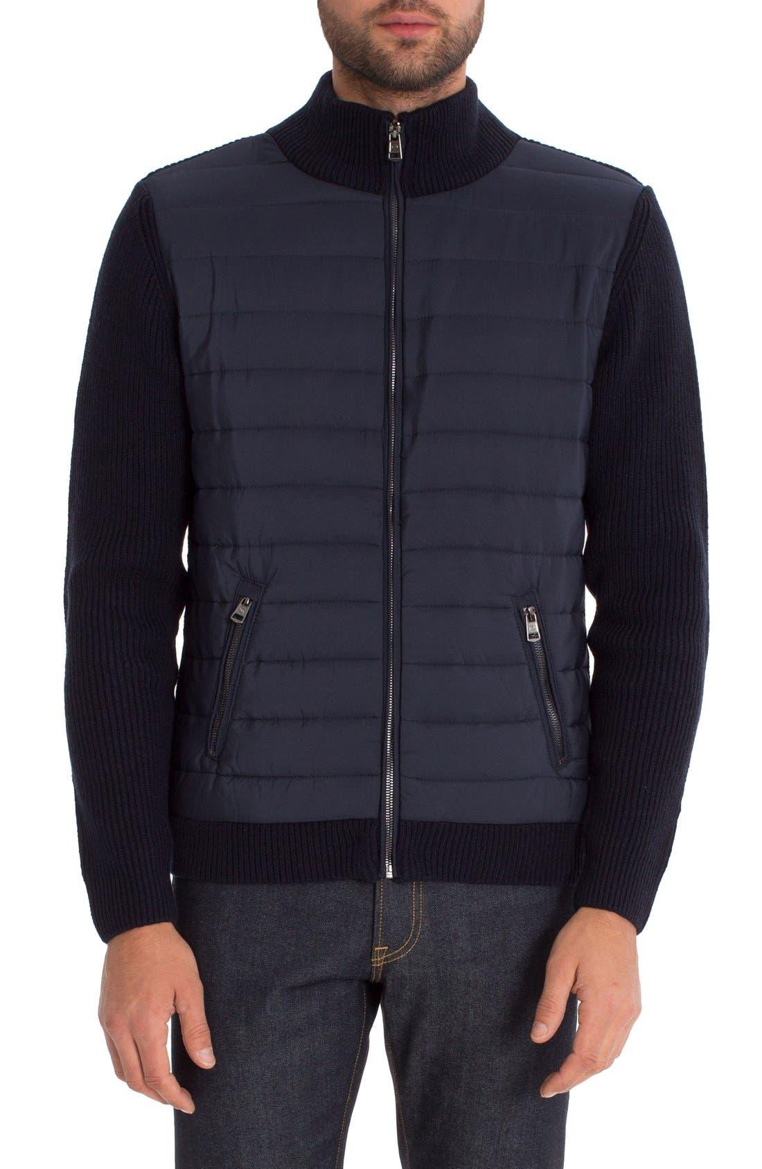 Tristan Mixed Media Jacket,                         Main,                         color, Navy