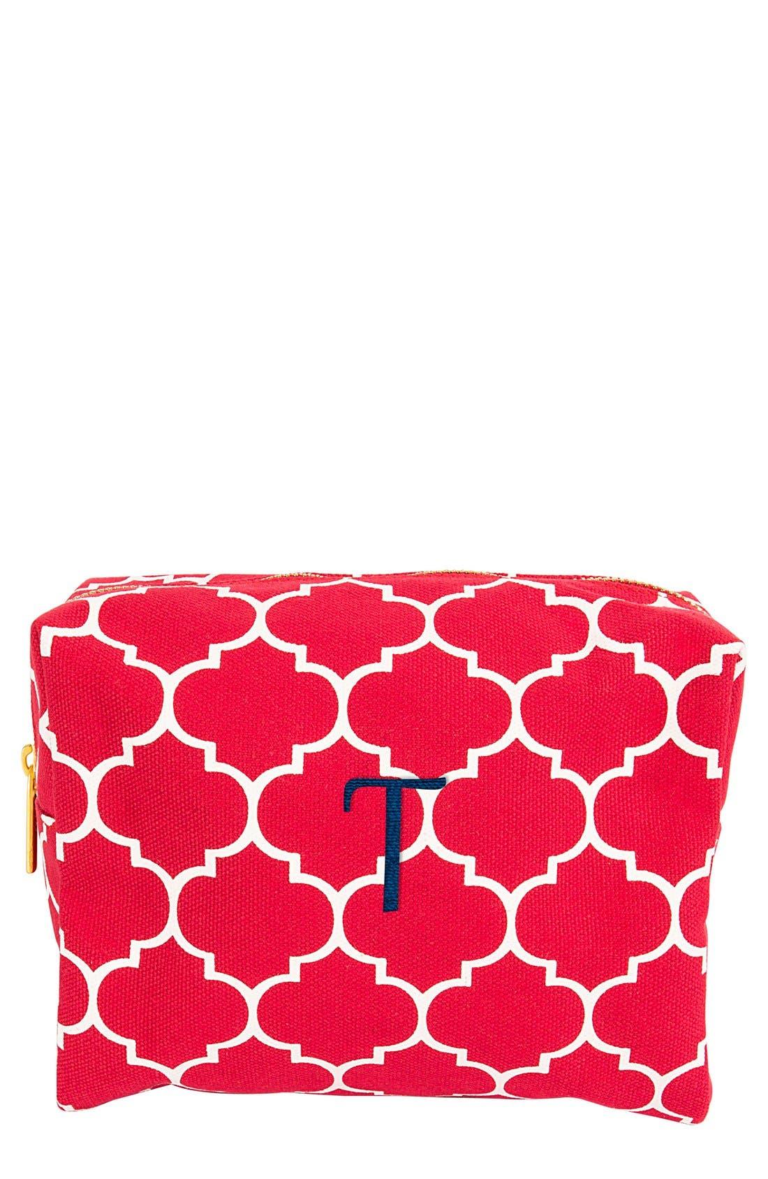 Monogram Cosmetics Bag,                             Main thumbnail 1, color,                             Coral-T