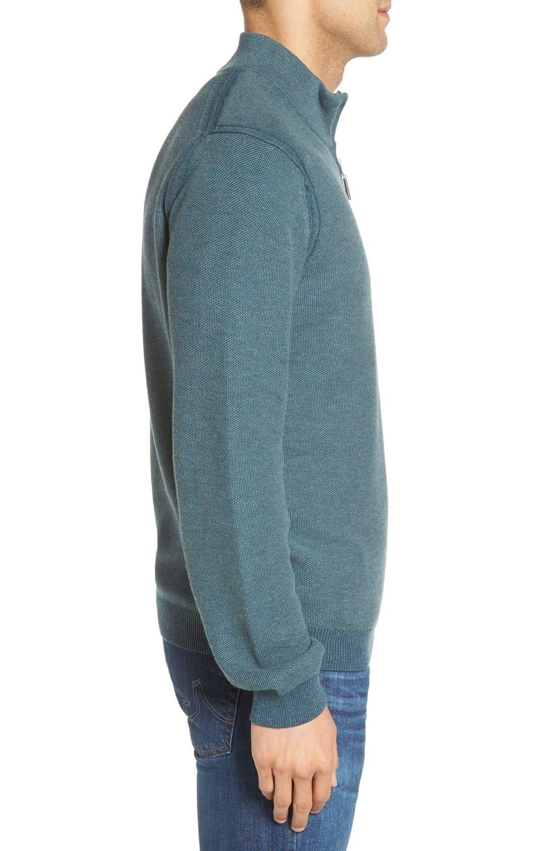 Make Mine a Double Reversible Quarter Zip Sweater,                             Alternate thumbnail 3, color,                             Seaway