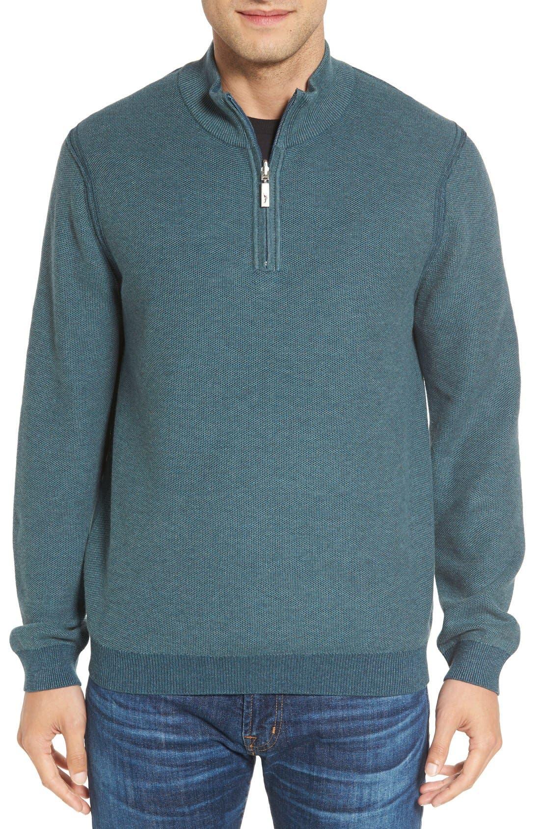 Make Mine a Double Reversible Quarter Zip Sweater,                             Alternate thumbnail 4, color,                             Seaway