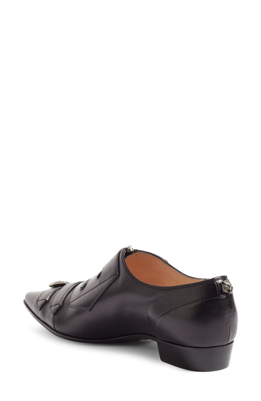 Susan Buckle Pointy Toe Loafer,                             Alternate thumbnail 2, color,                             Black Leather