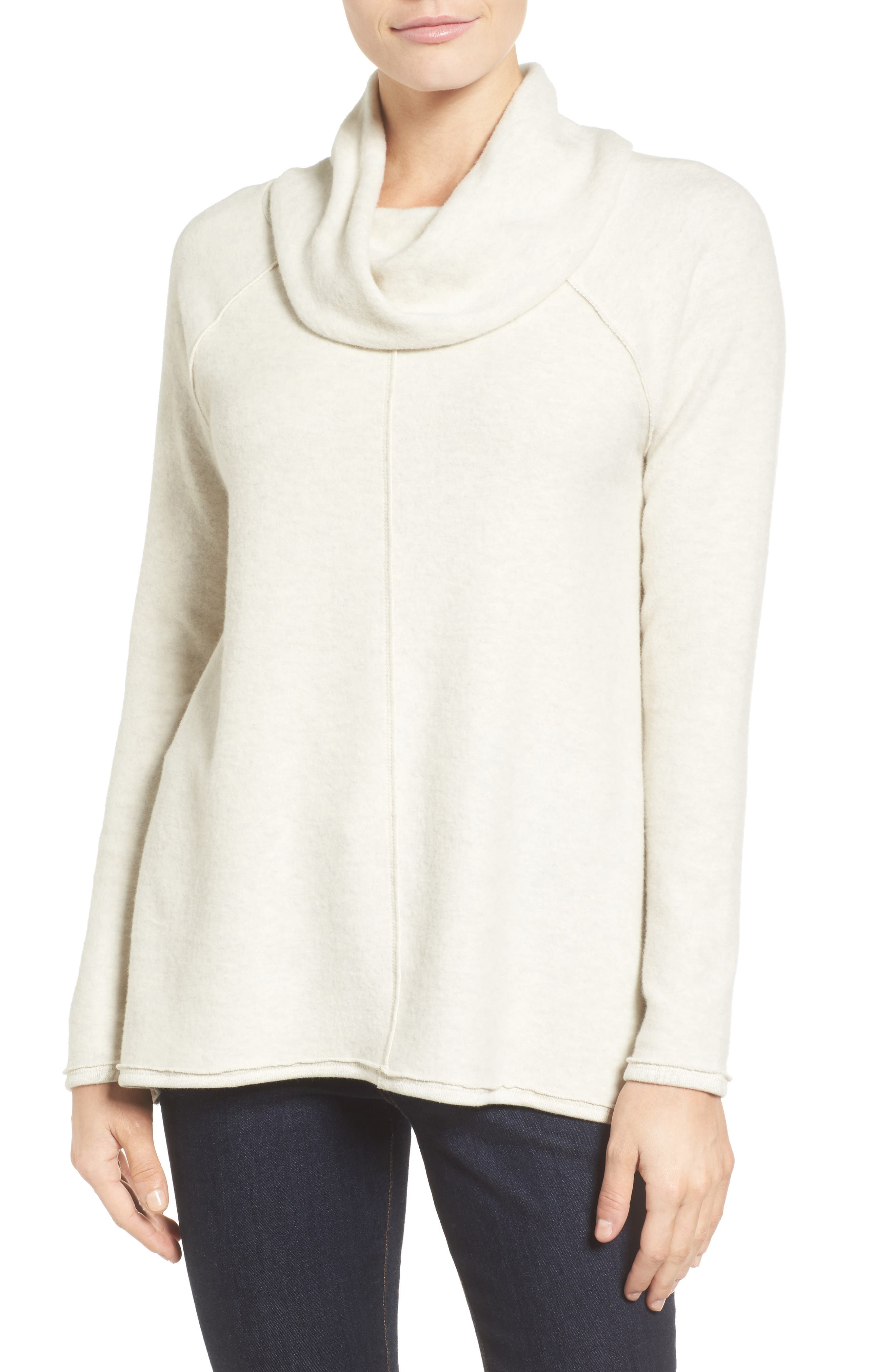 Knit Cowl Neck Tunic,                         Main,                         color, Heather Oatmeal