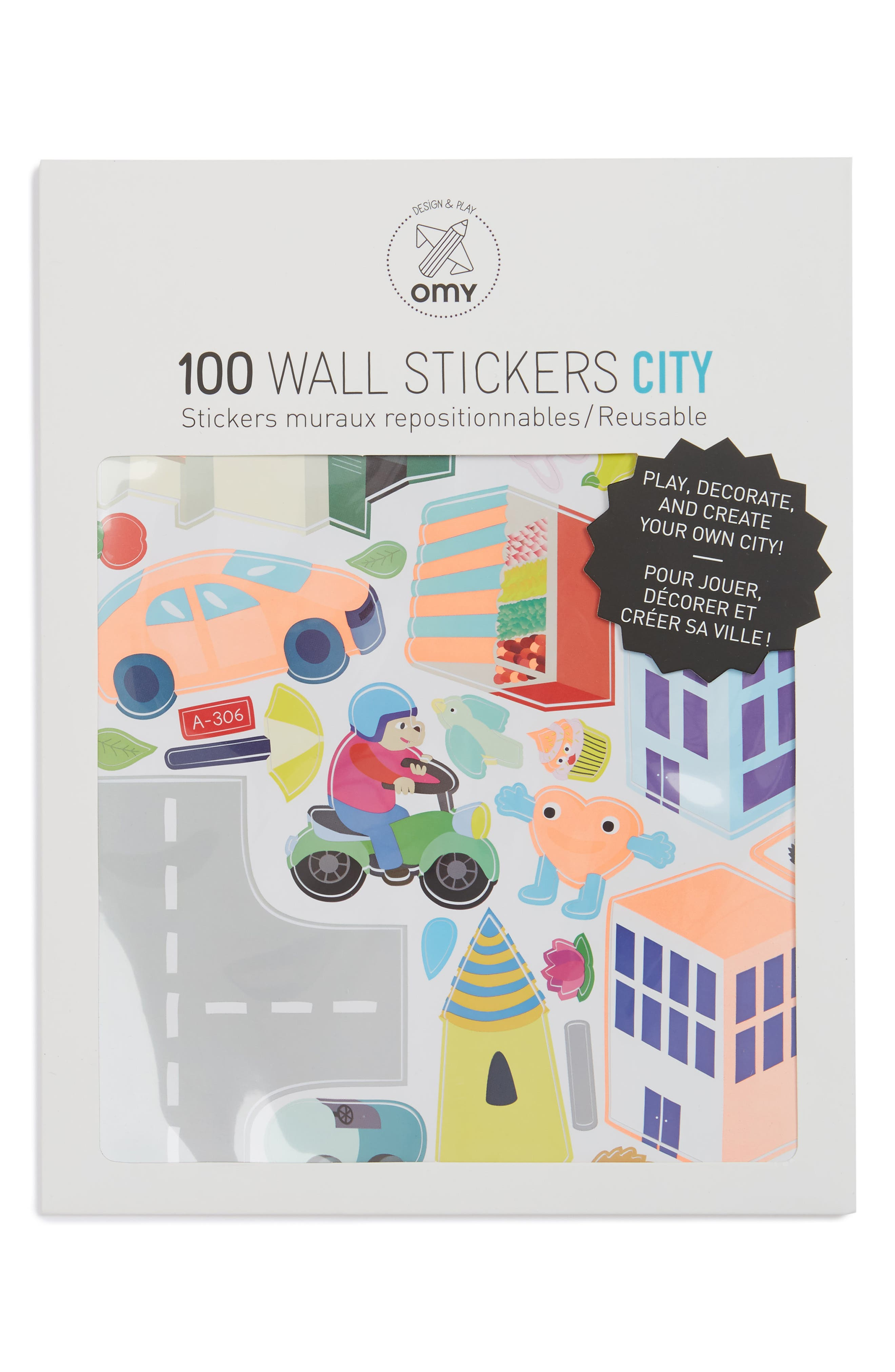 City Set of 100 Reusable Wall Stickers,                         Main,                         color, Multi