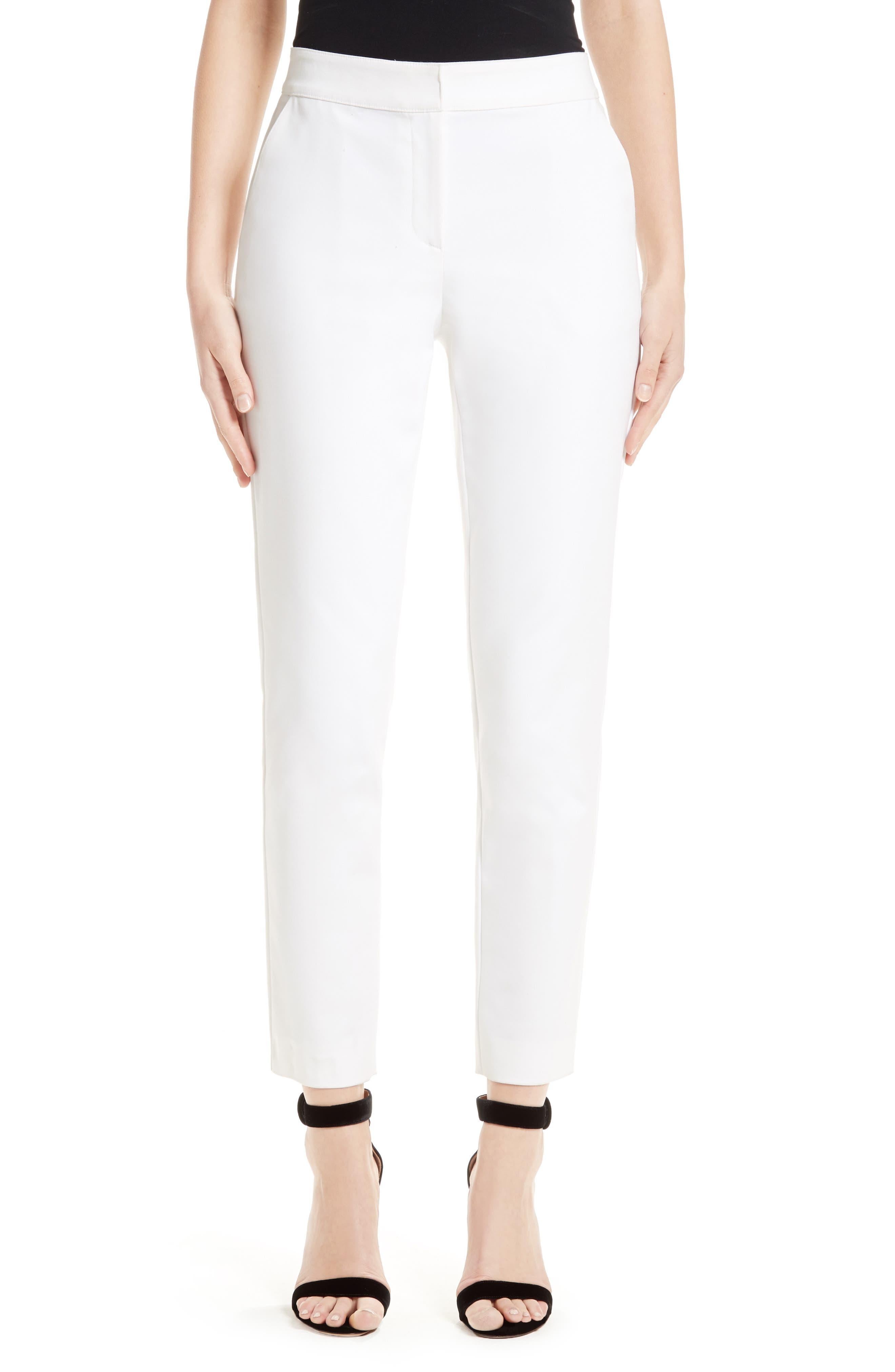 Emma Stretch Micro Ottoman Crop Pants,                             Main thumbnail 1, color,                             Bianco