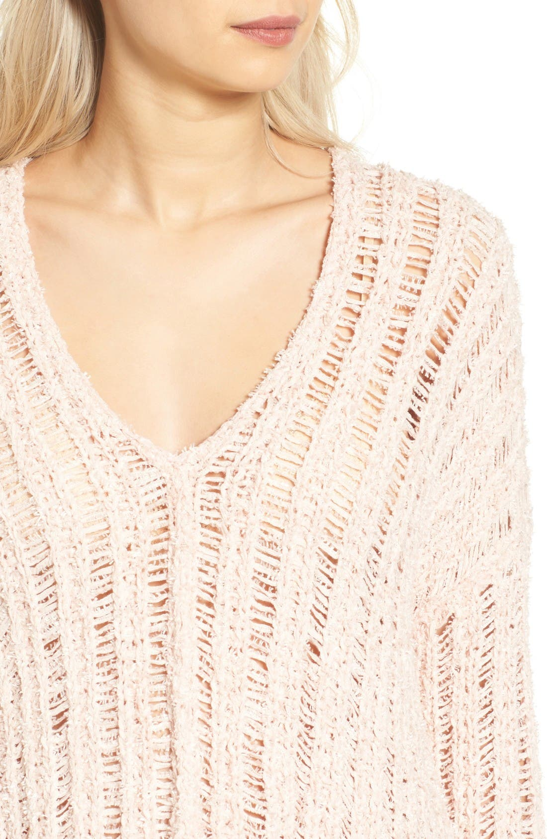 Open Knit Sweater,                             Alternate thumbnail 4, color,                             Pink Hero