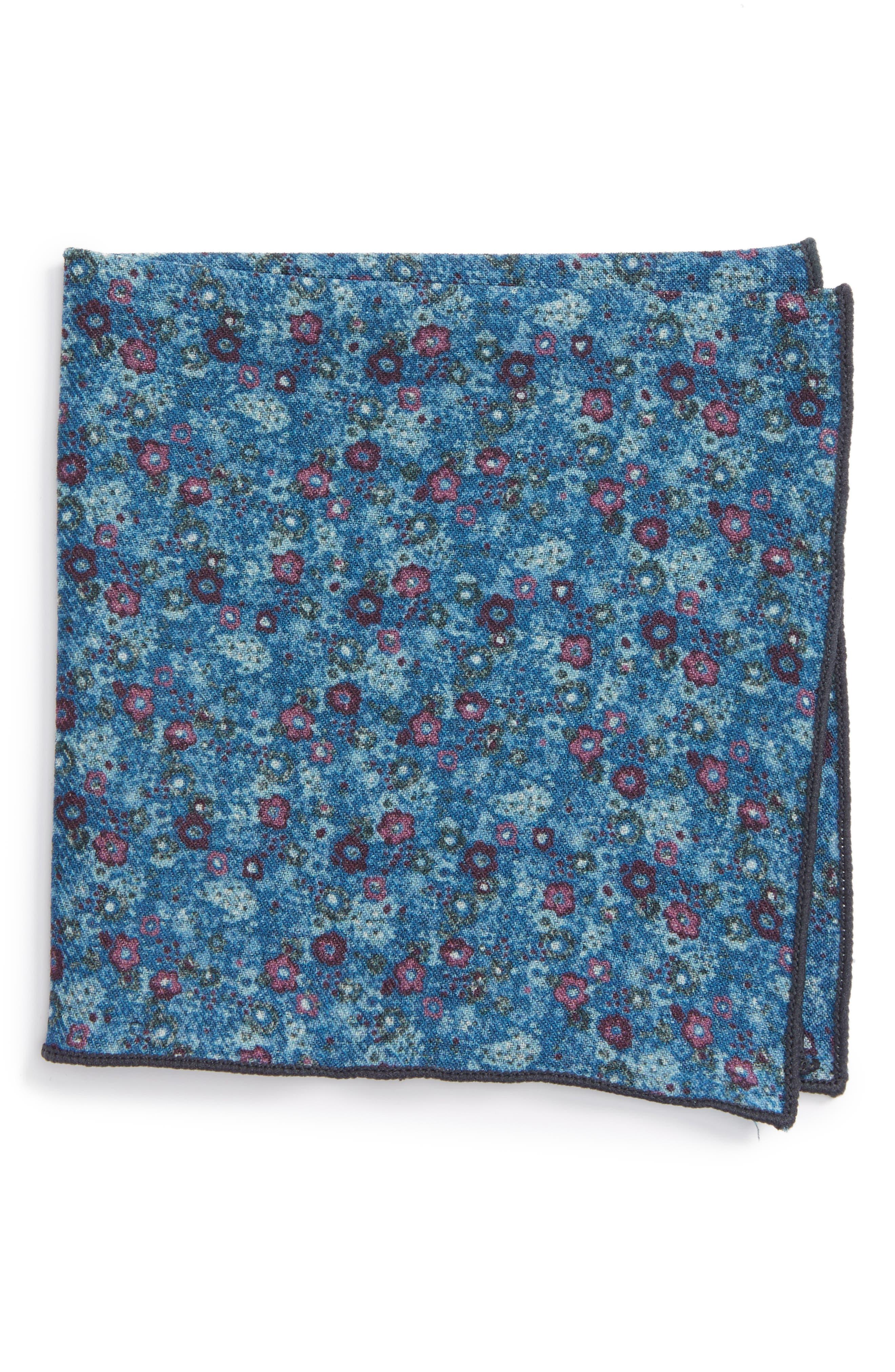 Floral Wool Pocket Square,                         Main,                         color, Light Blue