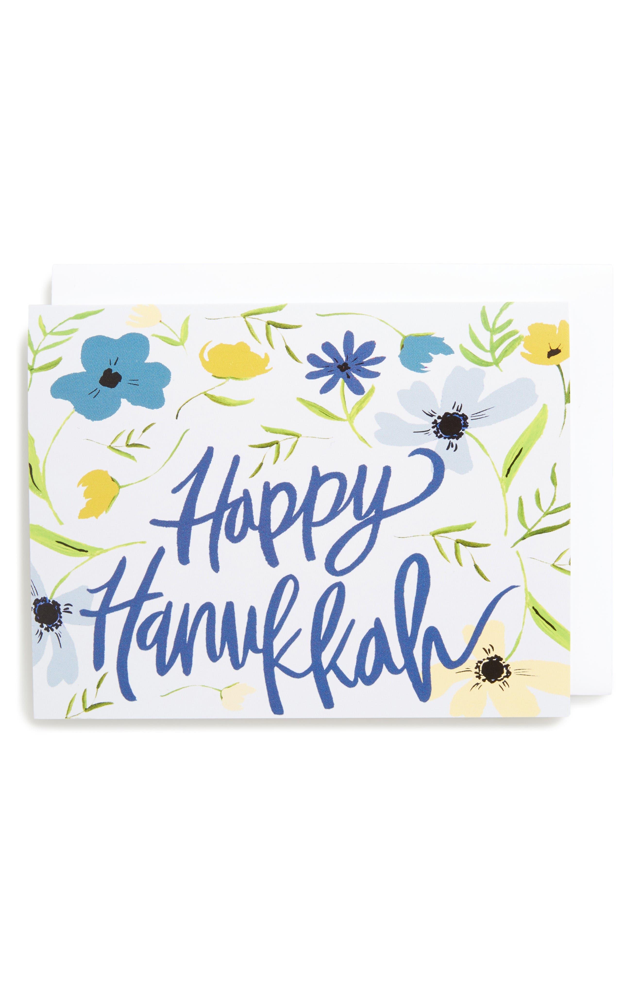 Set of 8 Hanukkah Floral Greeting Cards,                             Main thumbnail 1, color,                             Blue