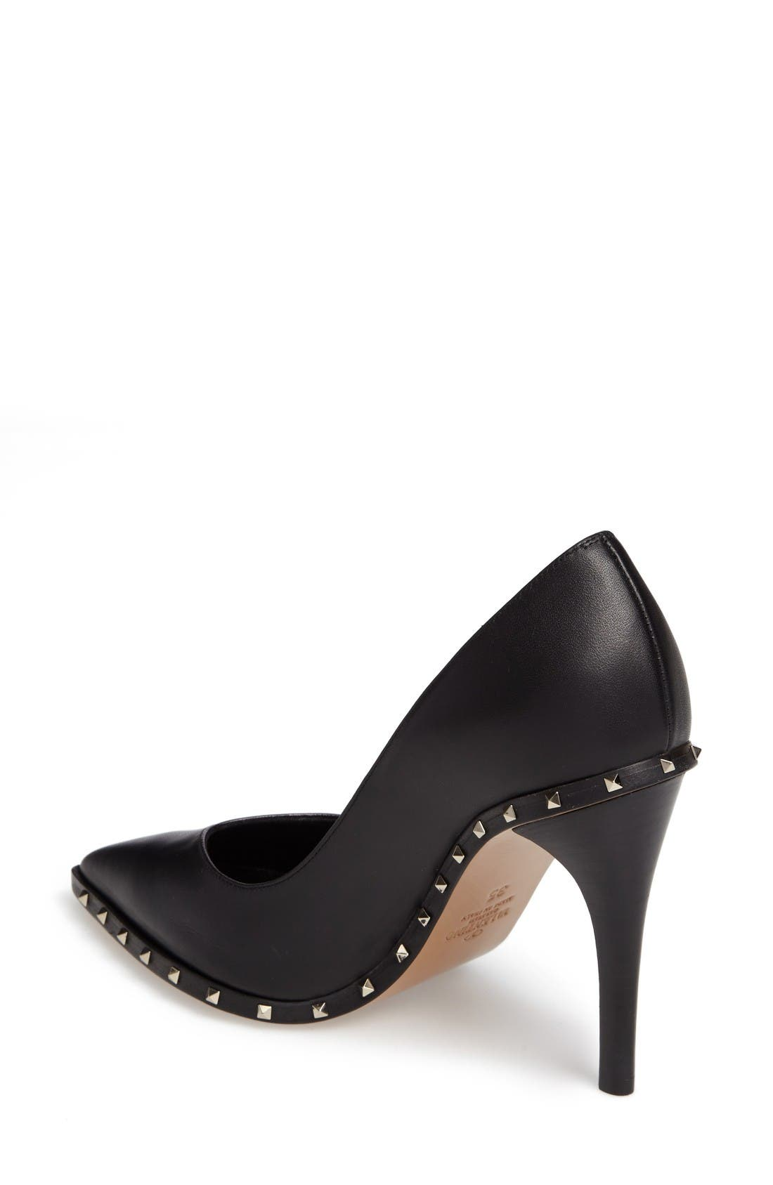 Rockstud Soul Pointy Toe Pump,                             Alternate thumbnail 2, color,                             Black Leather