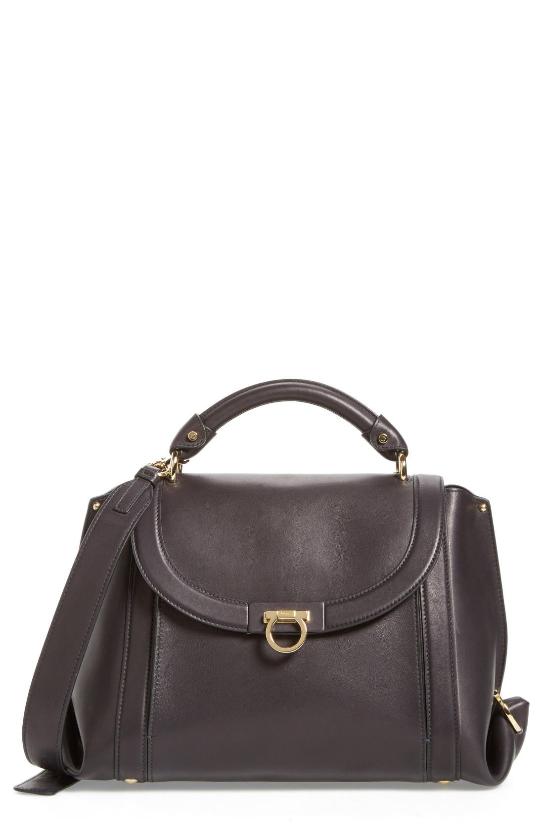 Medium Leather Satchel,                         Main,                         color, Nero