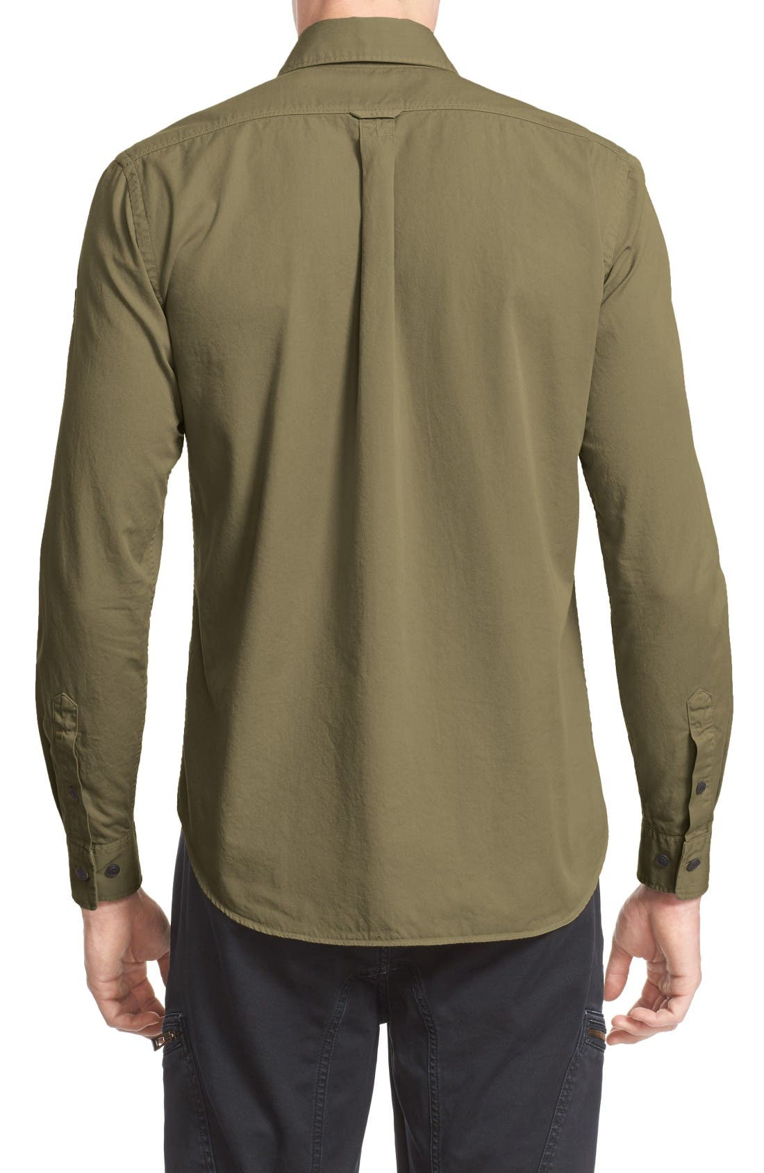 Steadway Woven Shirt,                             Alternate thumbnail 2, color,                             Military Green