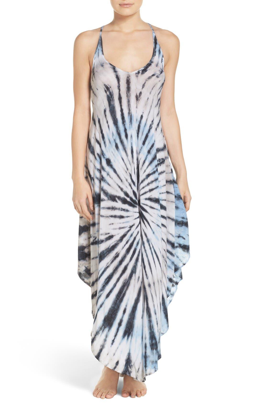 Tie Dye Cover-Up Dress,                             Main thumbnail 1, color,                             Blue/ Natural