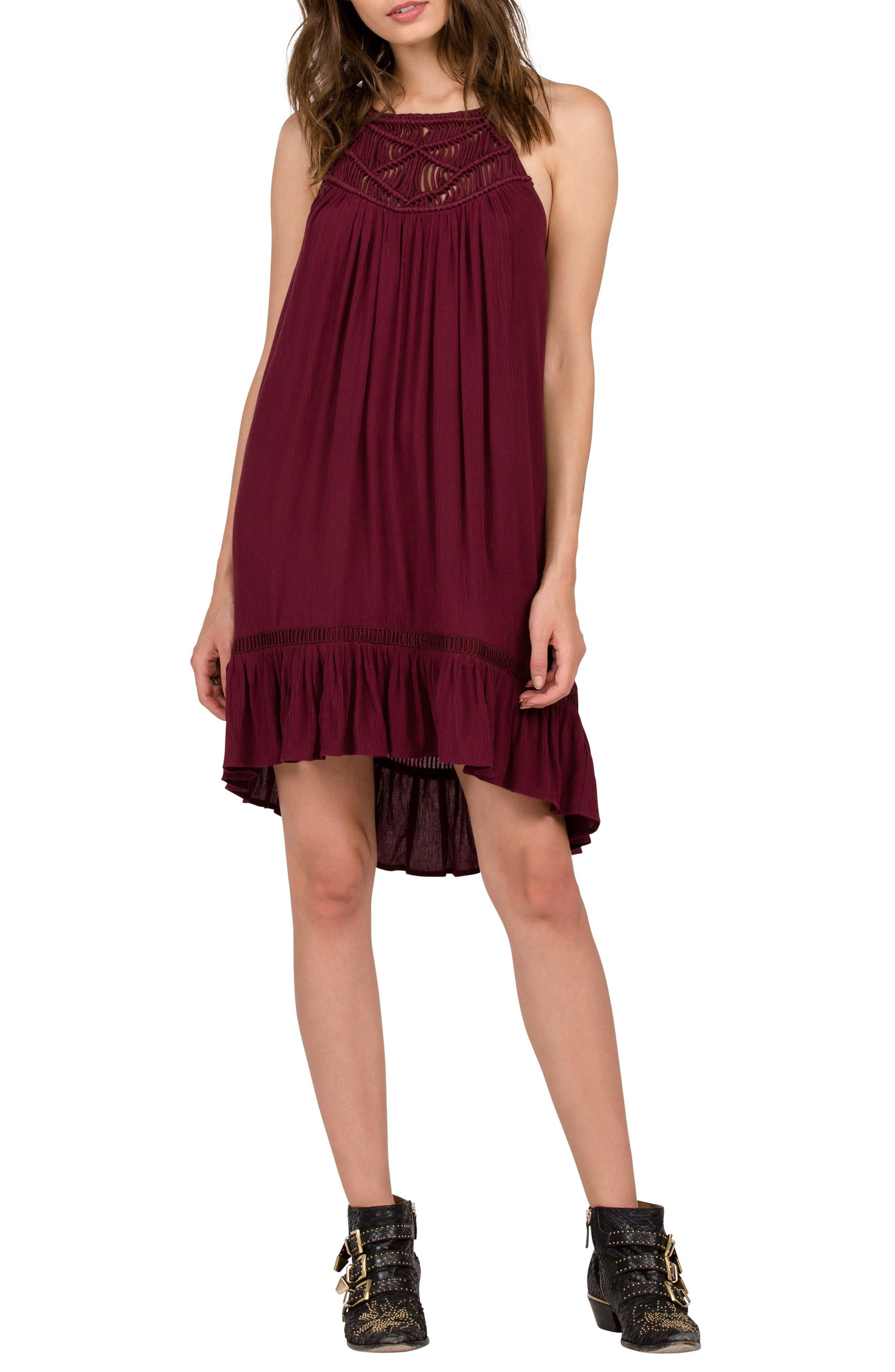 Main Image - Volcom Not Over It Crochet Swing Dress