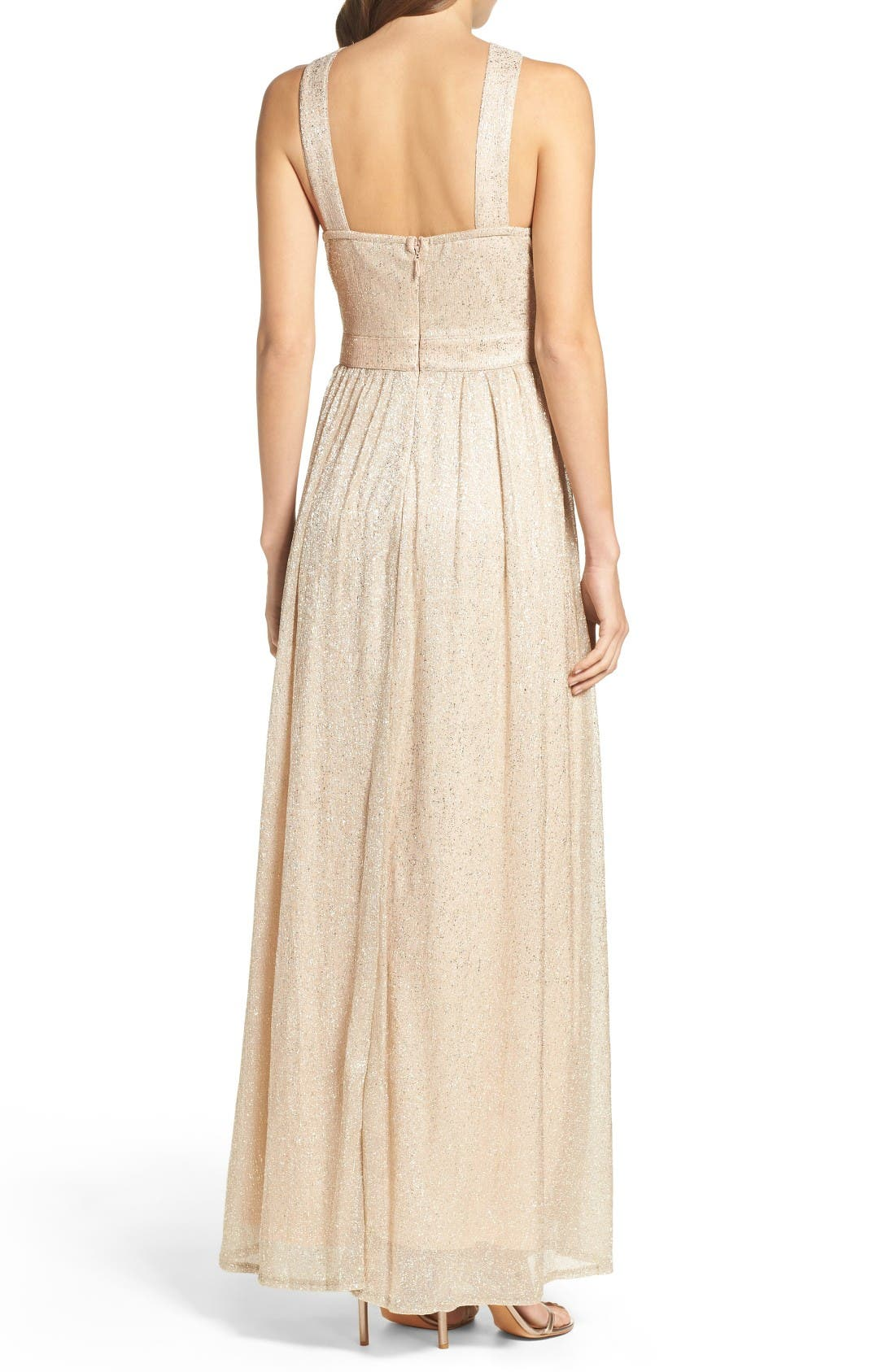 High Neck Shimmer Gown,                             Alternate thumbnail 2, color,                             Gold