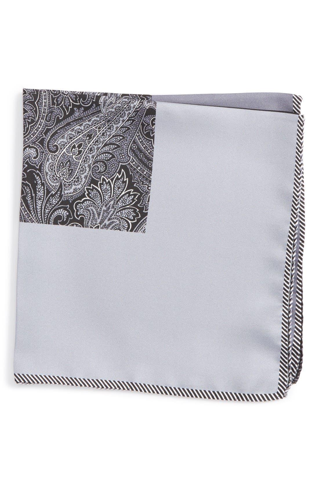 Five Panel Silk Pocket Square,                         Main,                         color, Black