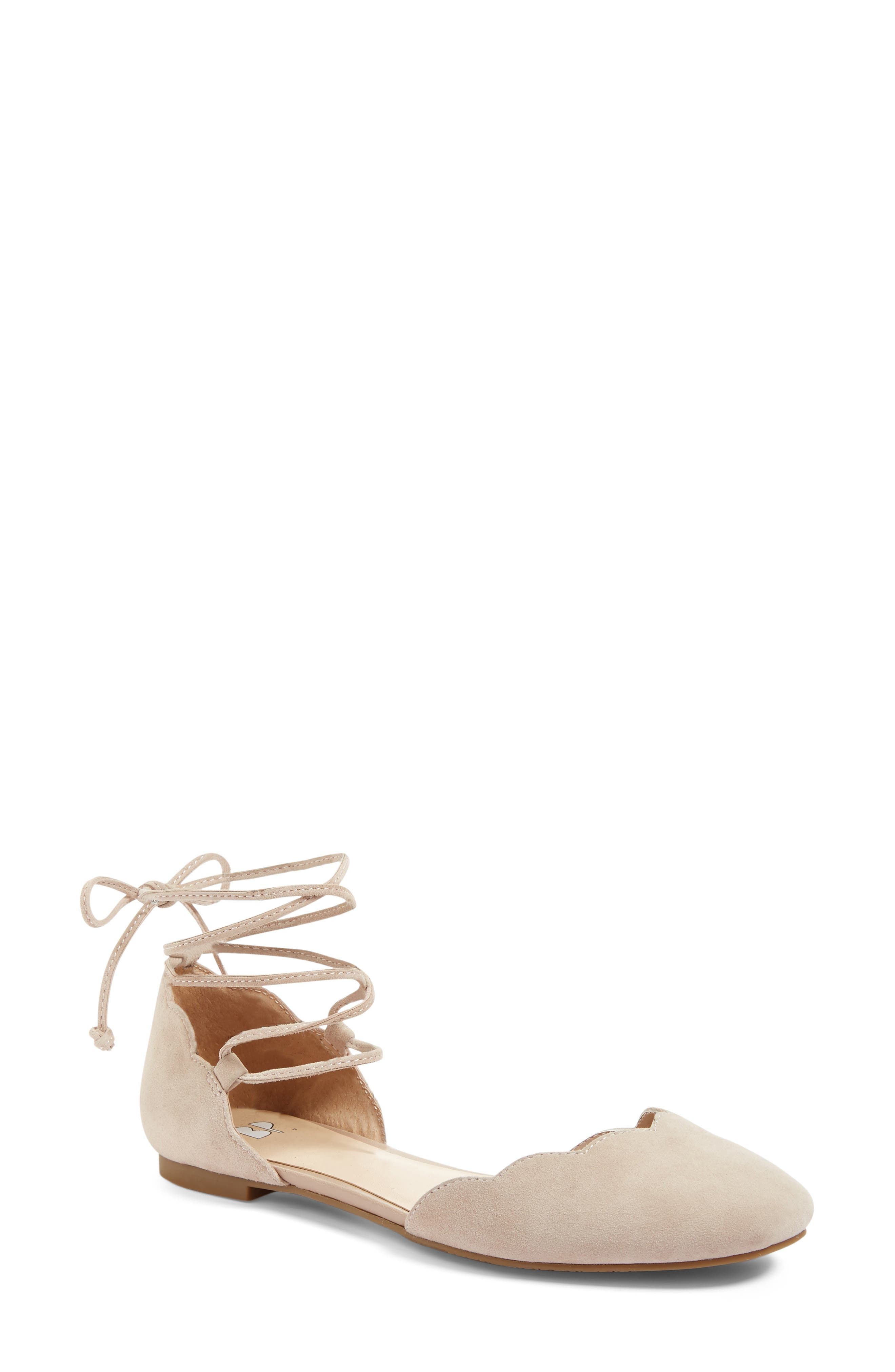Sophie Lace-Up Flat,                             Main thumbnail 1, color,                             Blush Suede