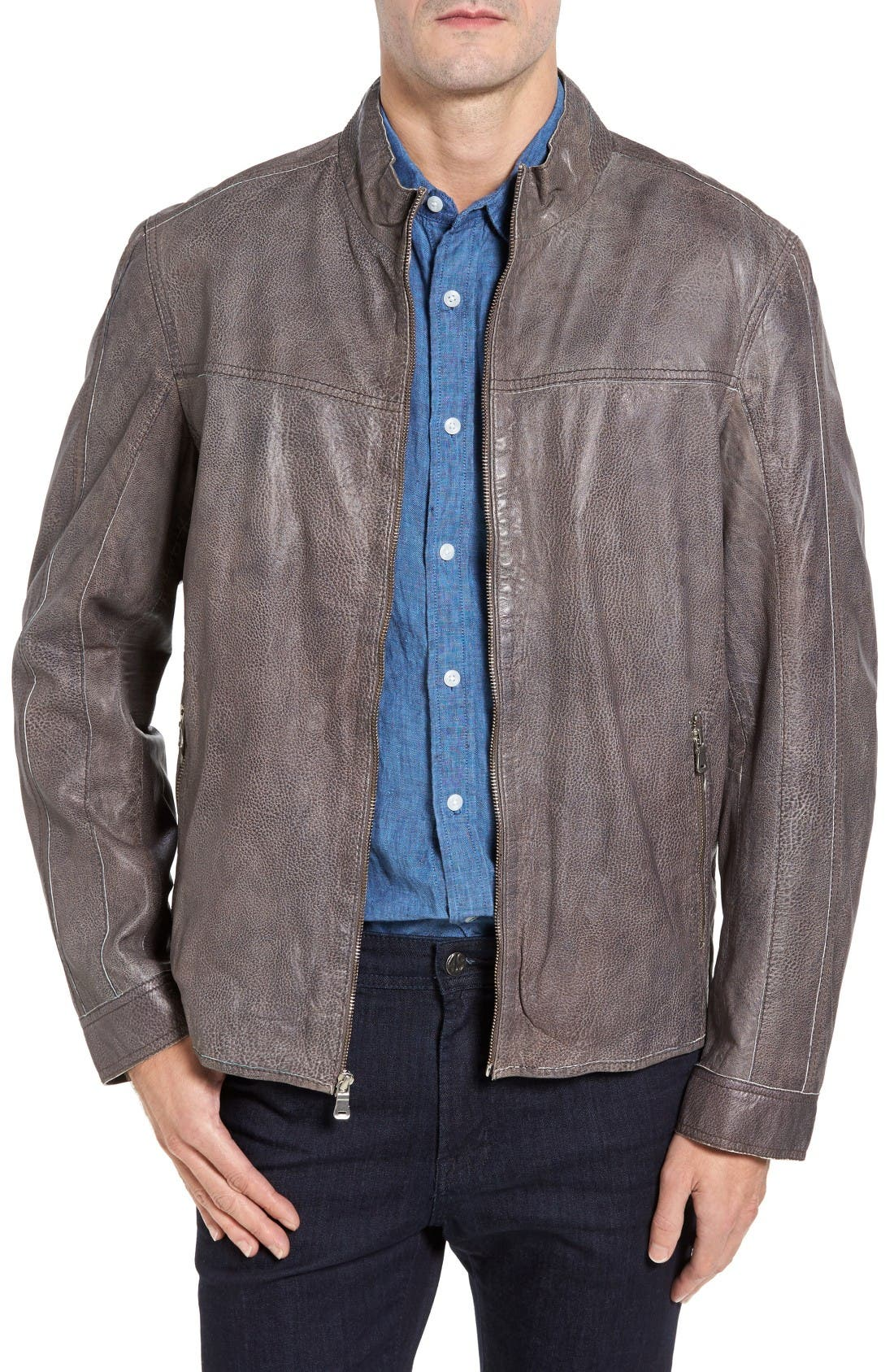 Lambskin Leather Jacket,                         Main,                         color, Slate Grey