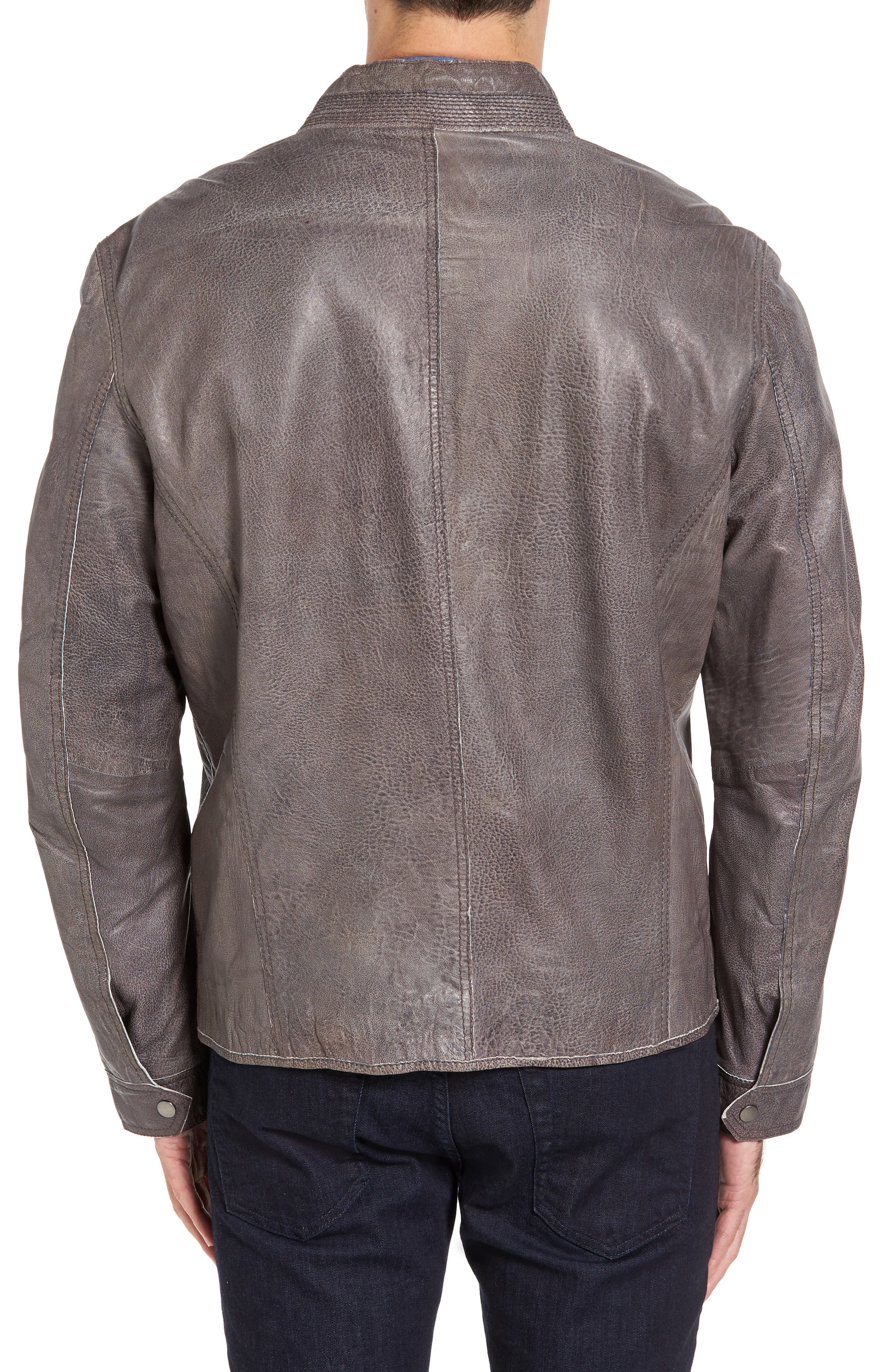 Lambskin Leather Jacket,                             Alternate thumbnail 2, color,                             Slate Grey