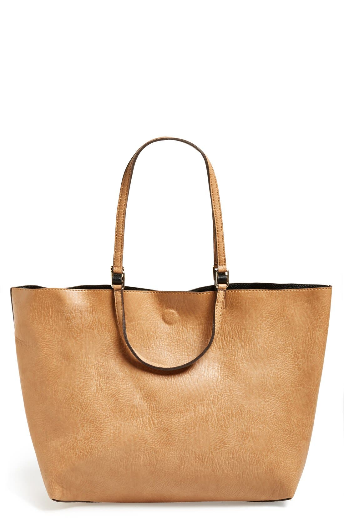 Reversible Faux Leather Tote,                             Main thumbnail 1, color,                             Tan/ Black