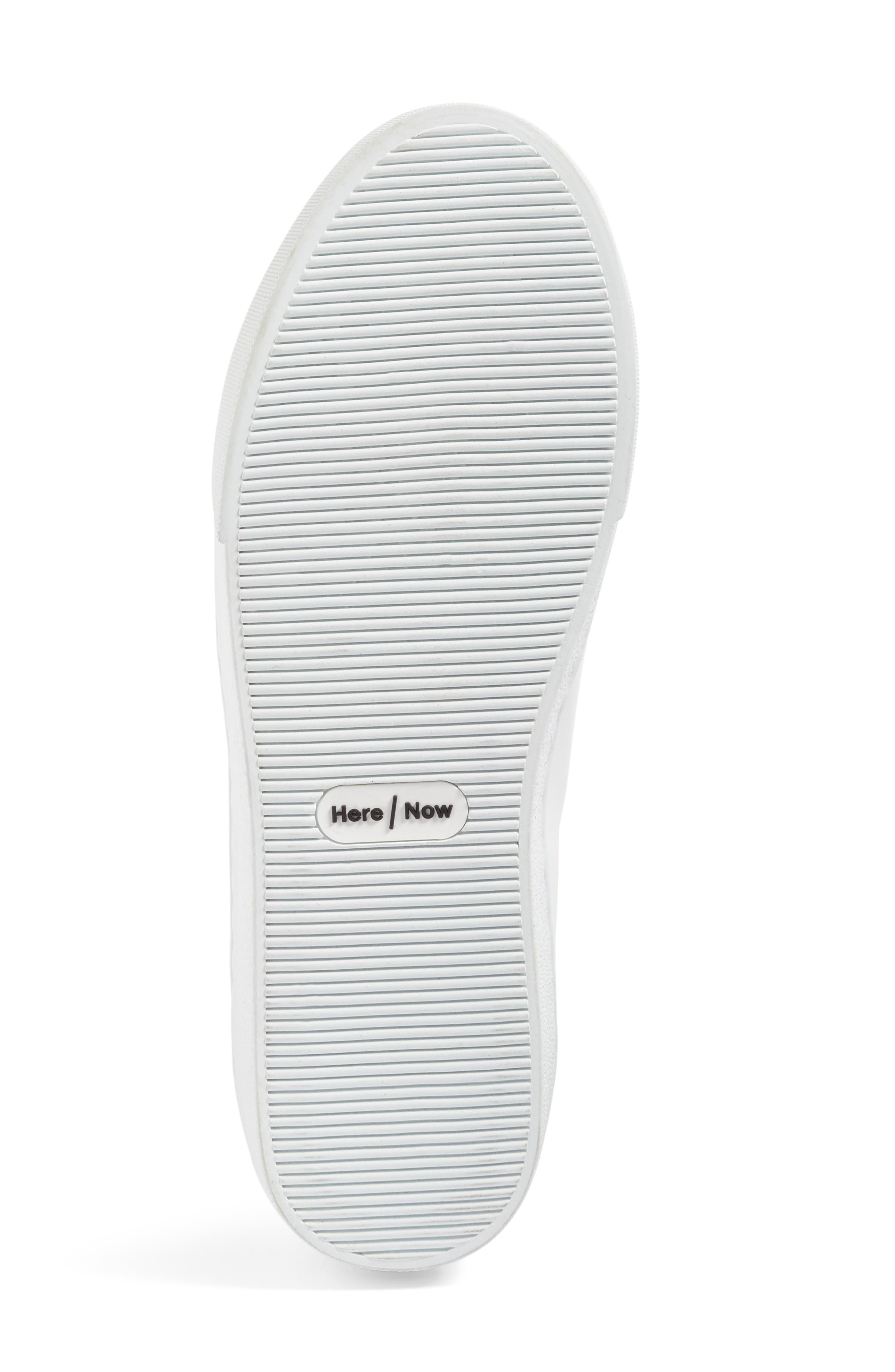 Arian Genuine Fox Fur Trim Sneaker,                             Alternate thumbnail 4, color,                             White Leather/ Navy/ Grey