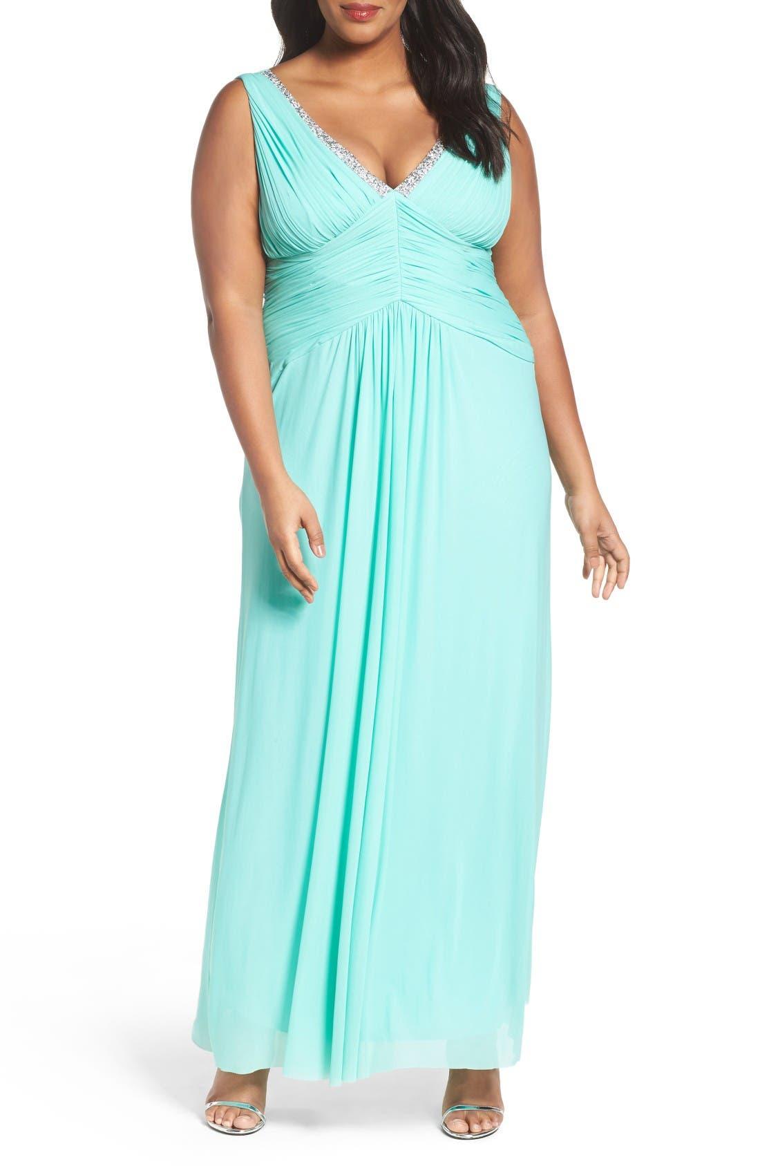 Alternate Image 1 Selected - Marina Beaded V-Neck Pleat Mesh Gown (Plus Size)