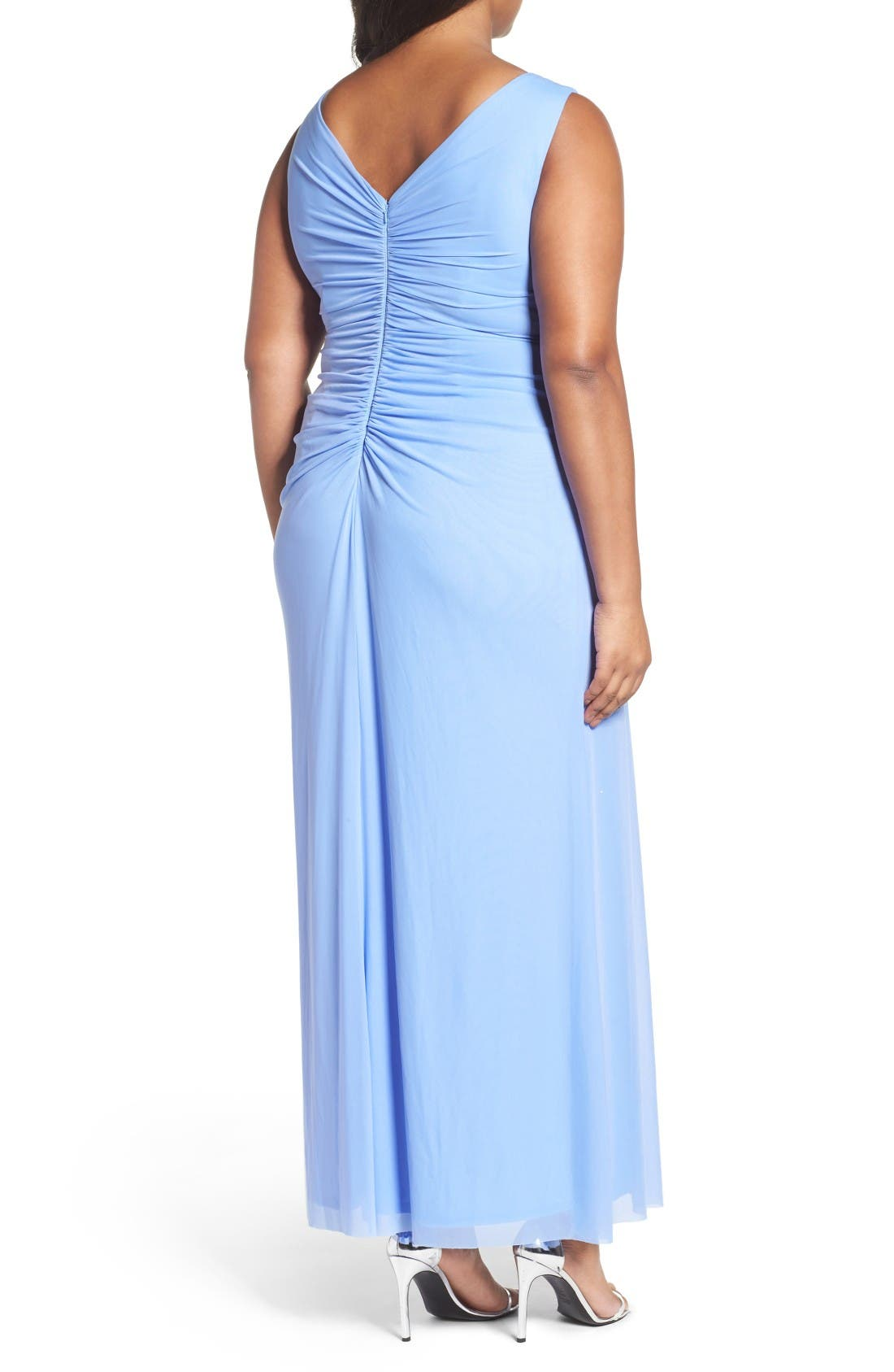 Beaded V-Neck Pleat Mesh Gown,                             Alternate thumbnail 2, color,                             Periwinkle